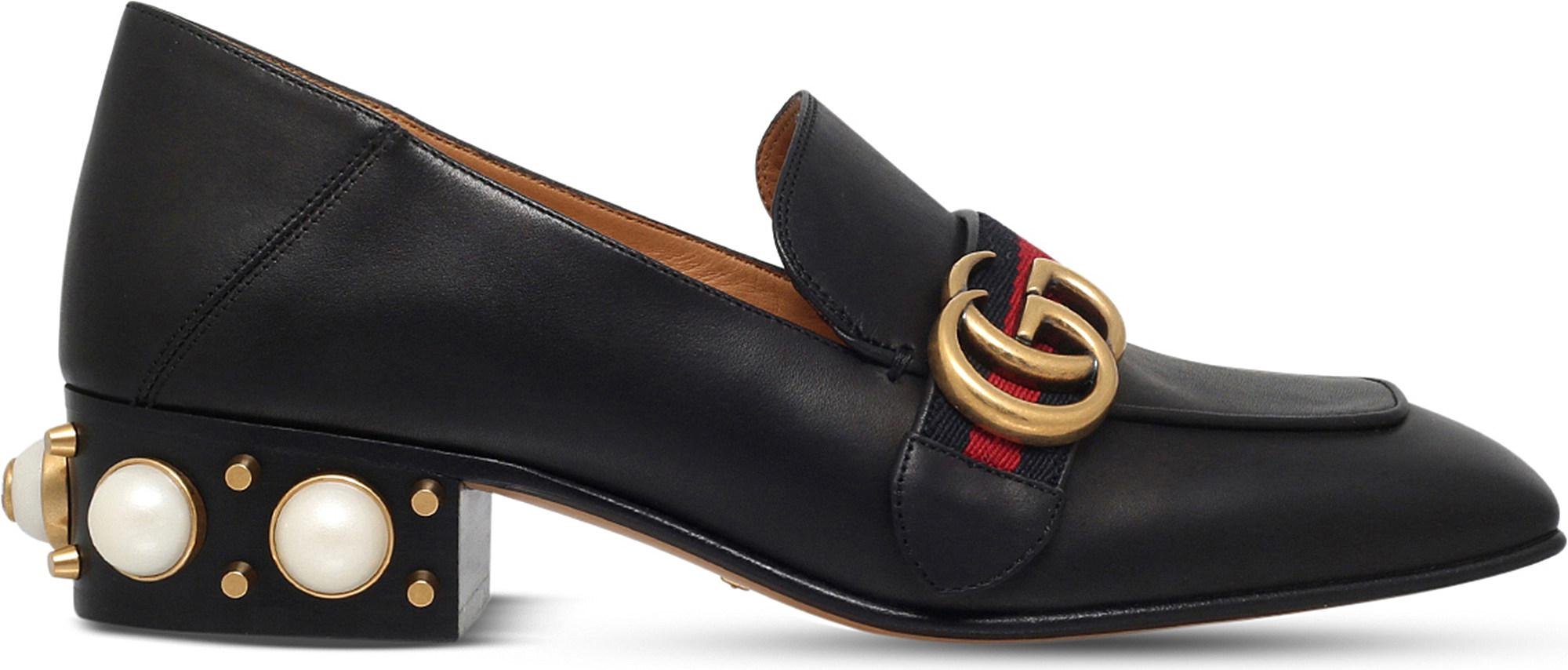 538884bbb29 Gucci Embellished-Heel Leather Loafers in Black - Save 10% - Lyst