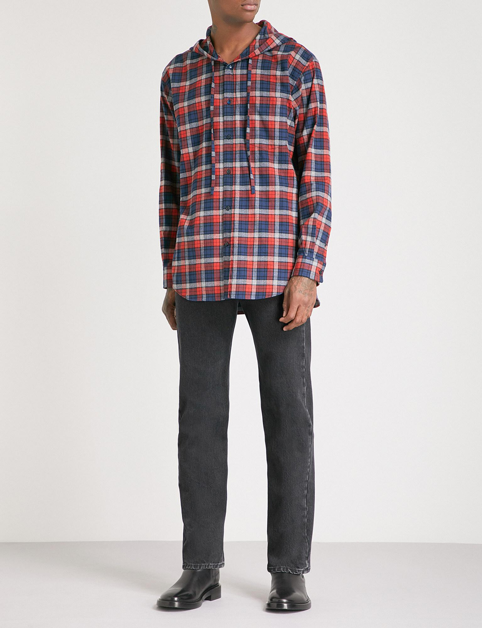 5c968acc Balenciaga Hooded Checked Regular-fit Flannel Shirt for Men - Lyst