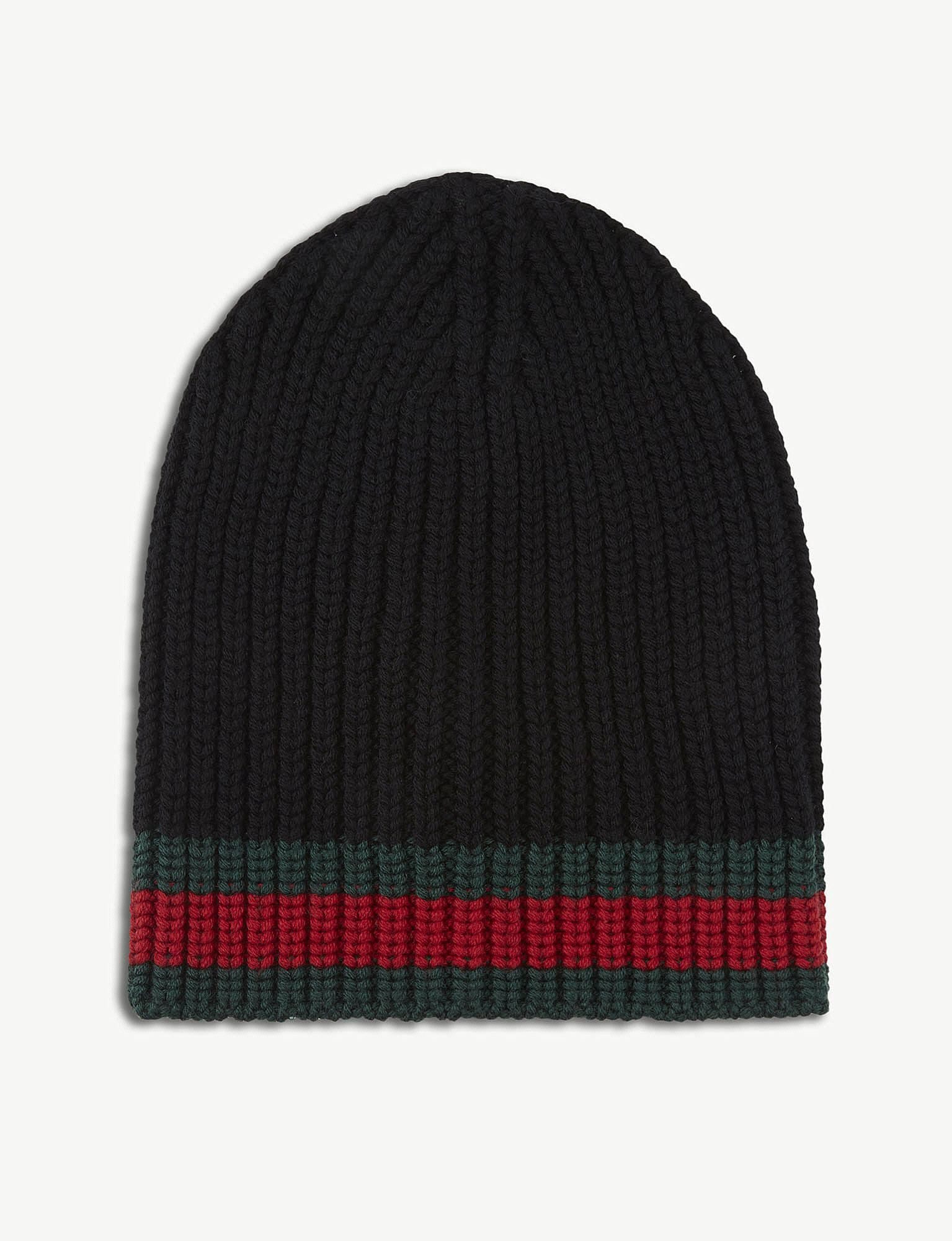 0e397fa66d37c Lyst - Gucci Striped Wool Beanie in Black for Men