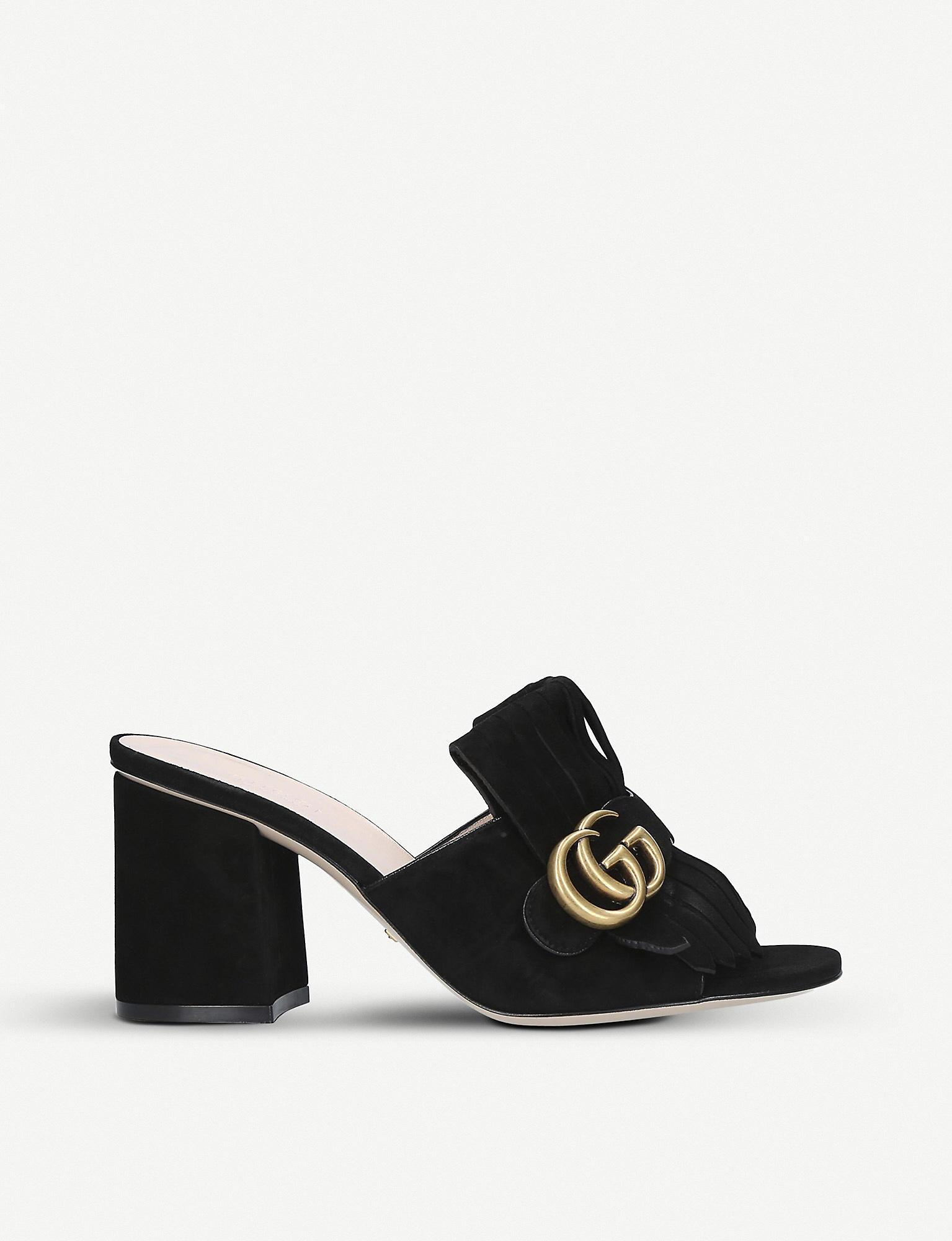 1cce2221e35 Lyst - Gucci Marmont 75 Suede Mules in Black - Save 25%