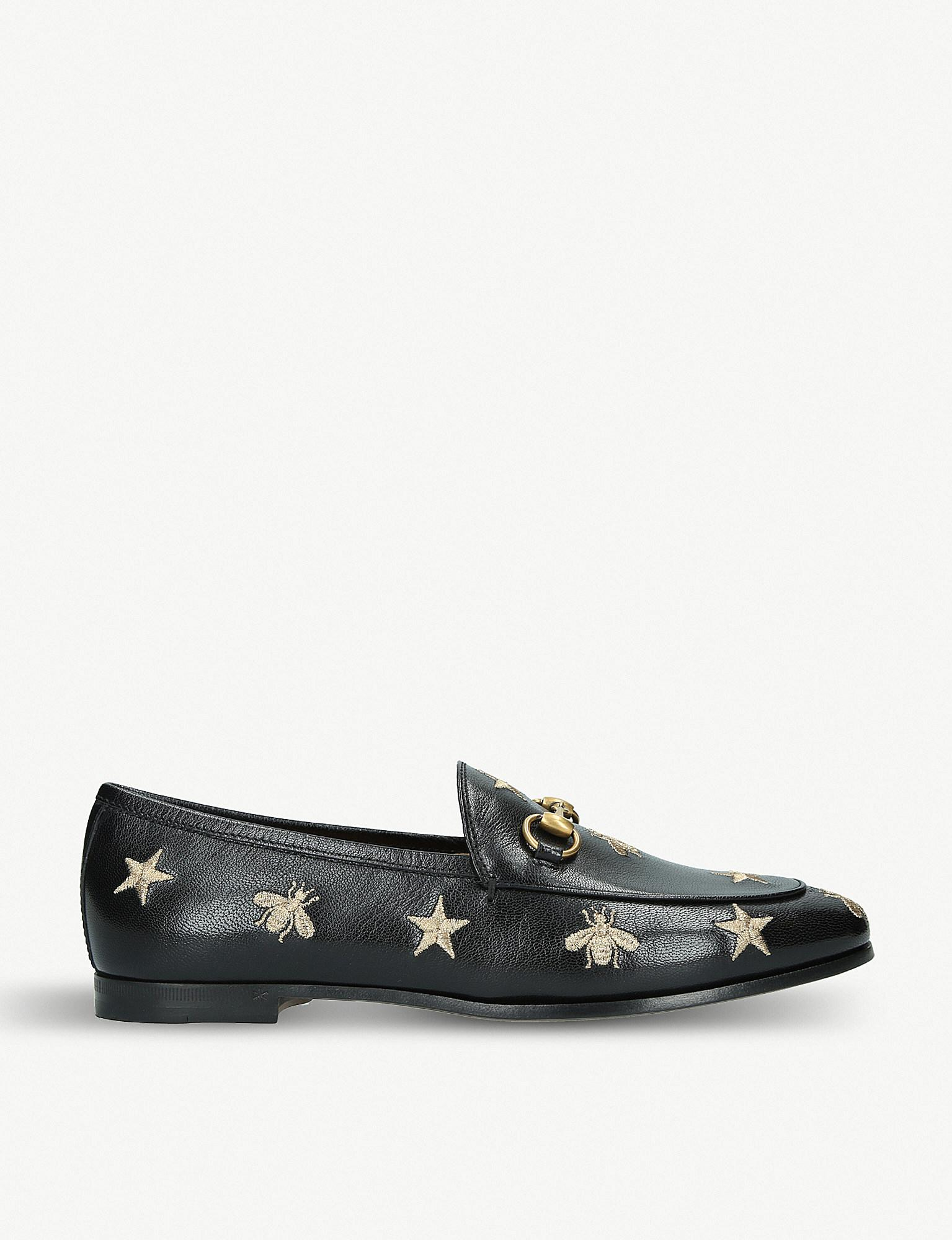 f9989cc22db Lyst - Gucci Black Gold Jordaan Leather Loafers in Black - Save 27%