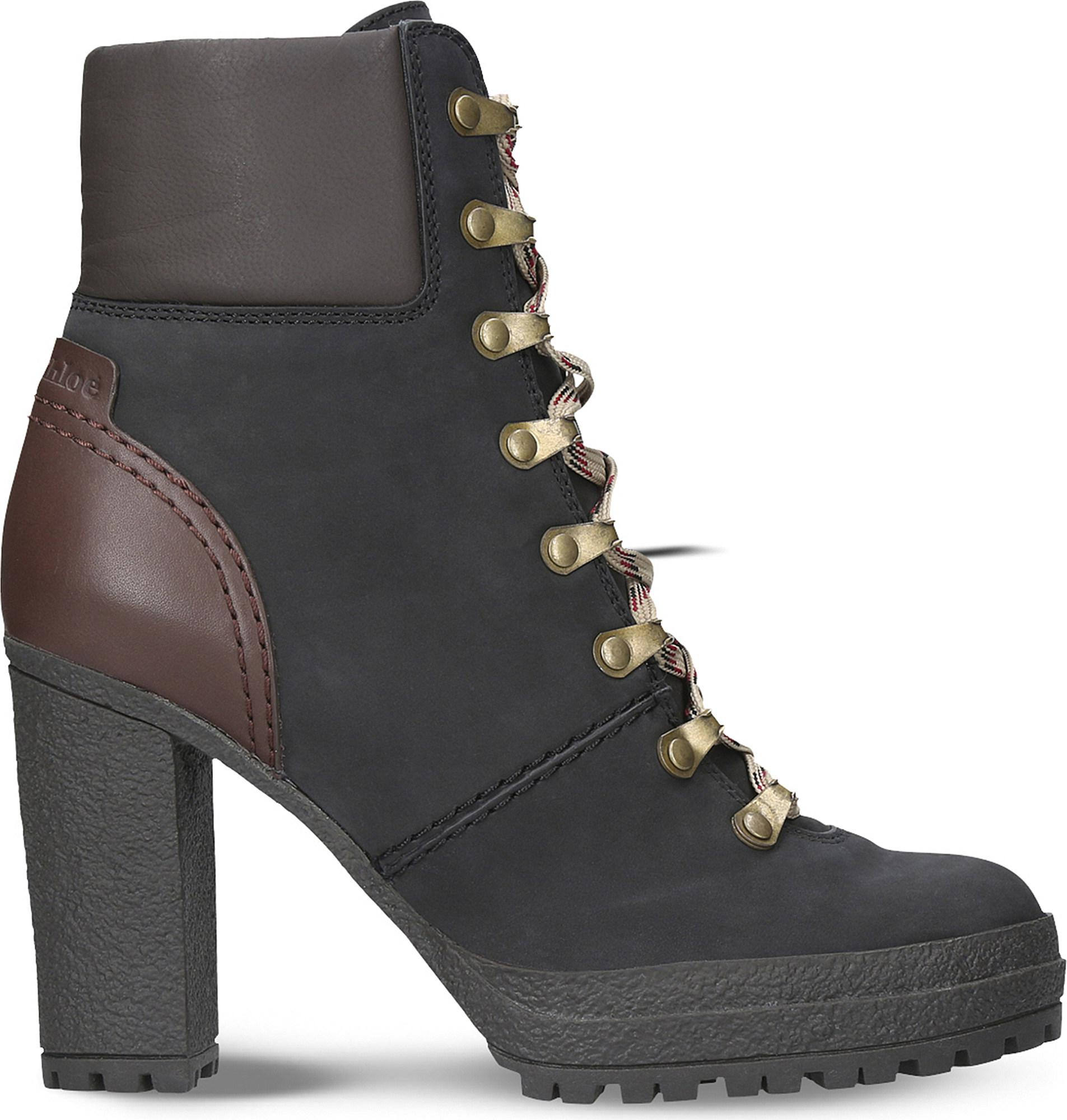 8be51bfa9d7 See By Chloé Black Eileen Heeled Leather Hiking Boots