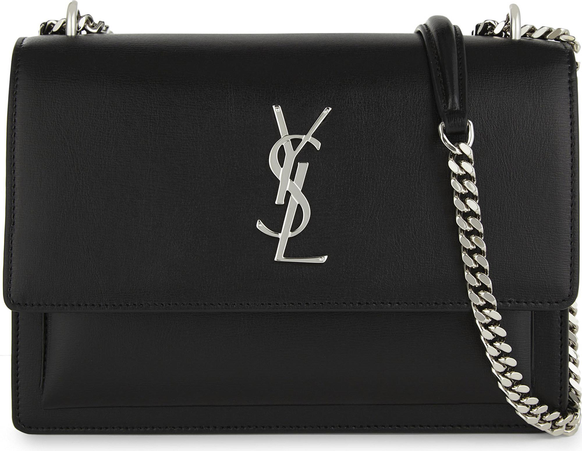 Saint Laurent. Womens Monogram Sunset Elegant Black Leather Medium Cross  Body Bag 60c088bda4d5e