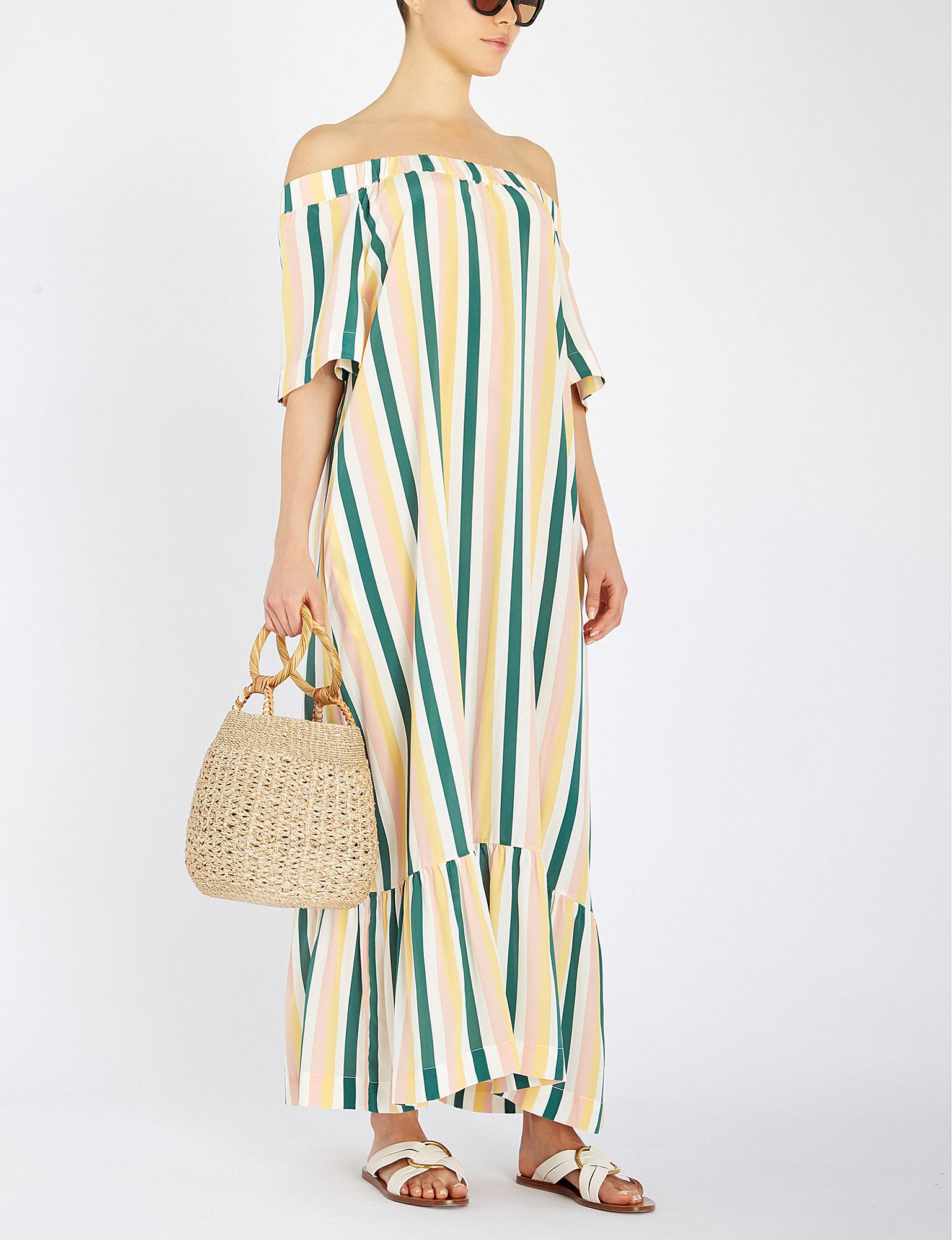 8aa7ec409d49 Lyst - Asceno Striped Off Shoulder Dress - Save 14%