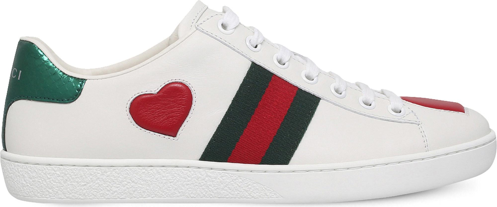 ff7eb113698 Lyst - Gucci New Ace Heart-detail Leather Trainers - Save 12%