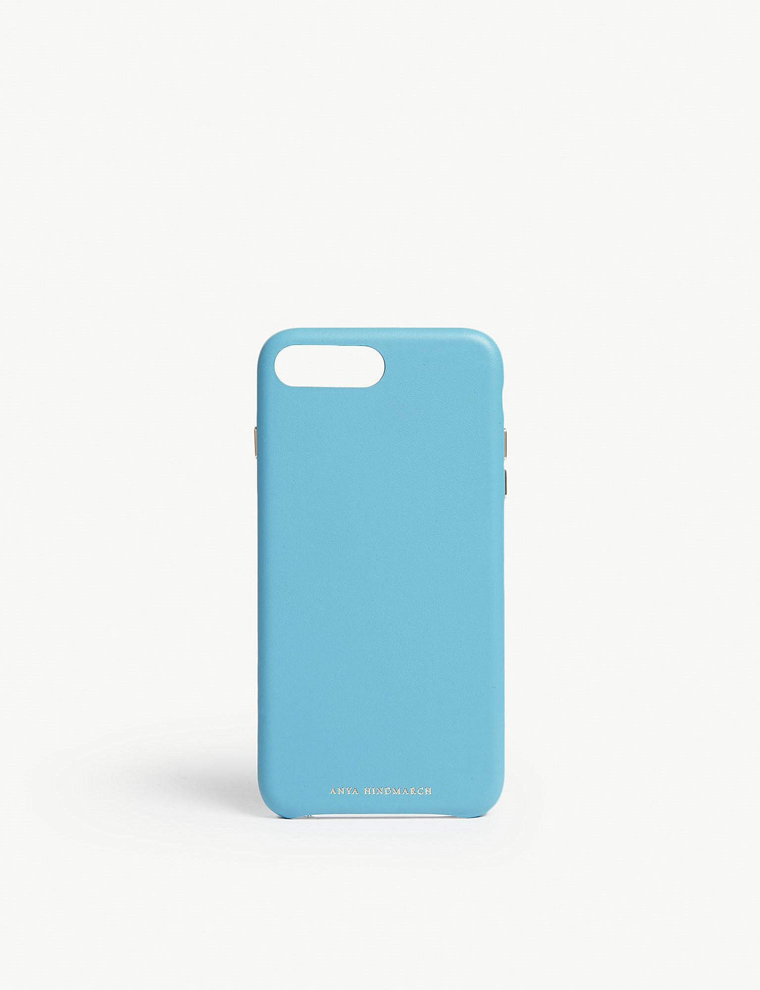 competitive price 79493 5a683 Lyst - Anya Hindmarch Leather Iphone 7/8 Plus Case in Blue
