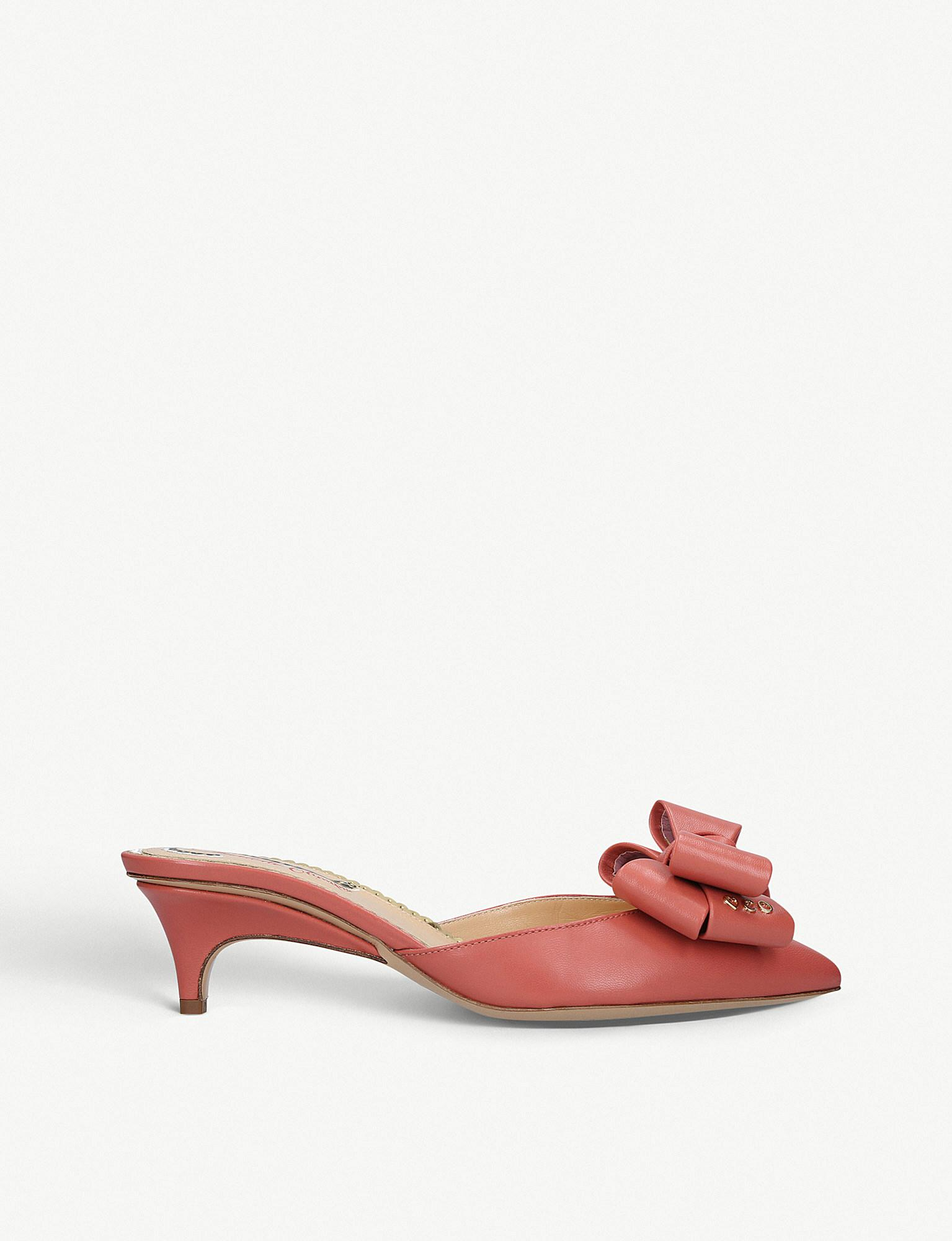 345193a6d8a Charlotte Olympia Bow-front Leather Kitten-heel Mules in Pink - Lyst