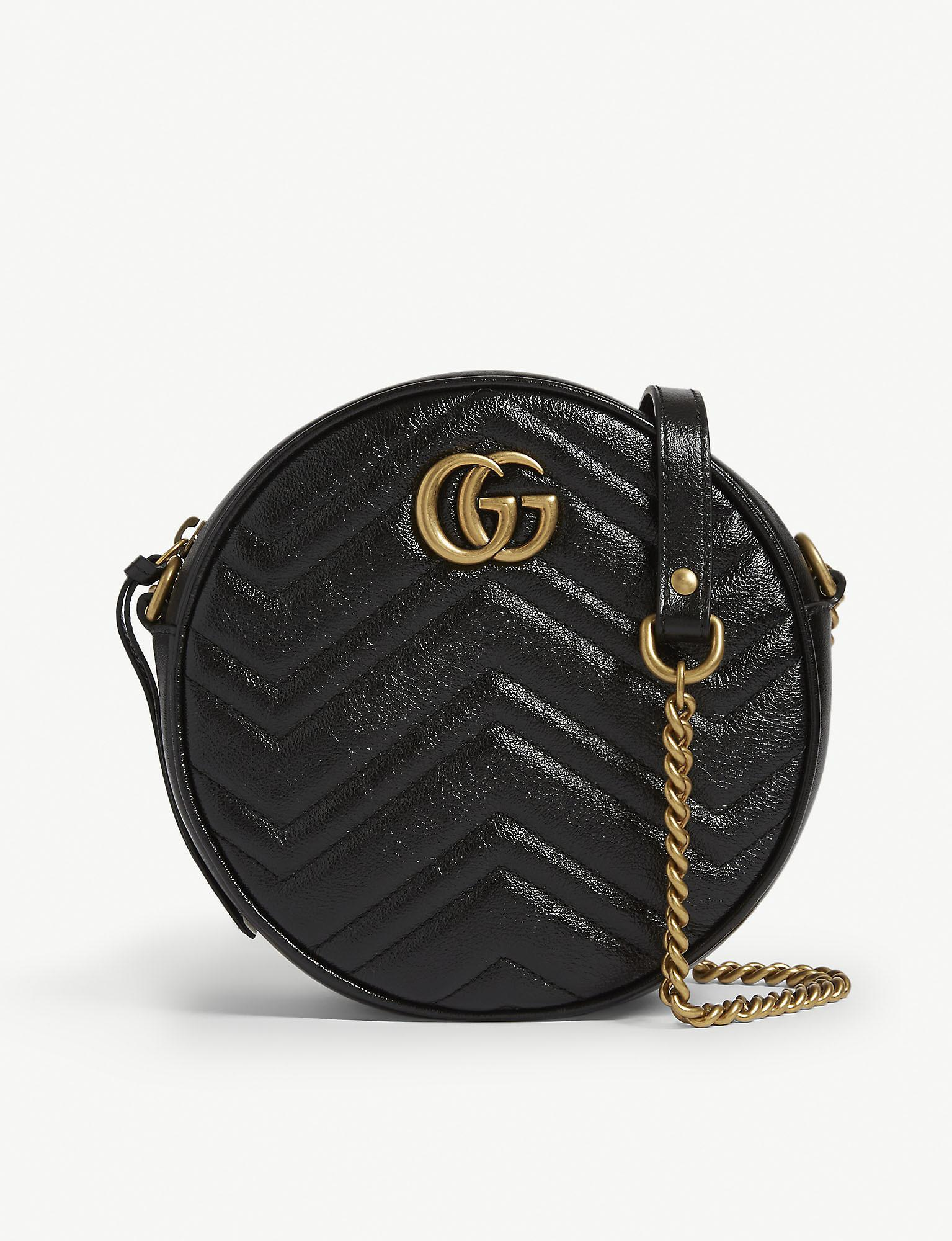 5dc6418441c2 Gucci Women's Black Zigzag Marmont Round Leather Quilted Camera Bag ...