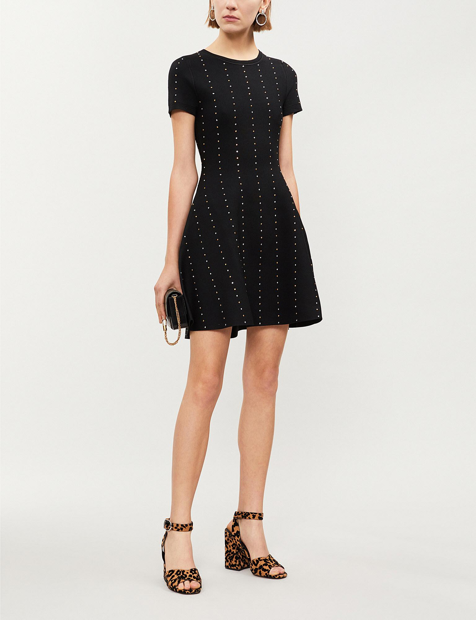 c2ab47b1ecc8 The Kooples Studded Stretch-knit Mini Dress in Black - Lyst
