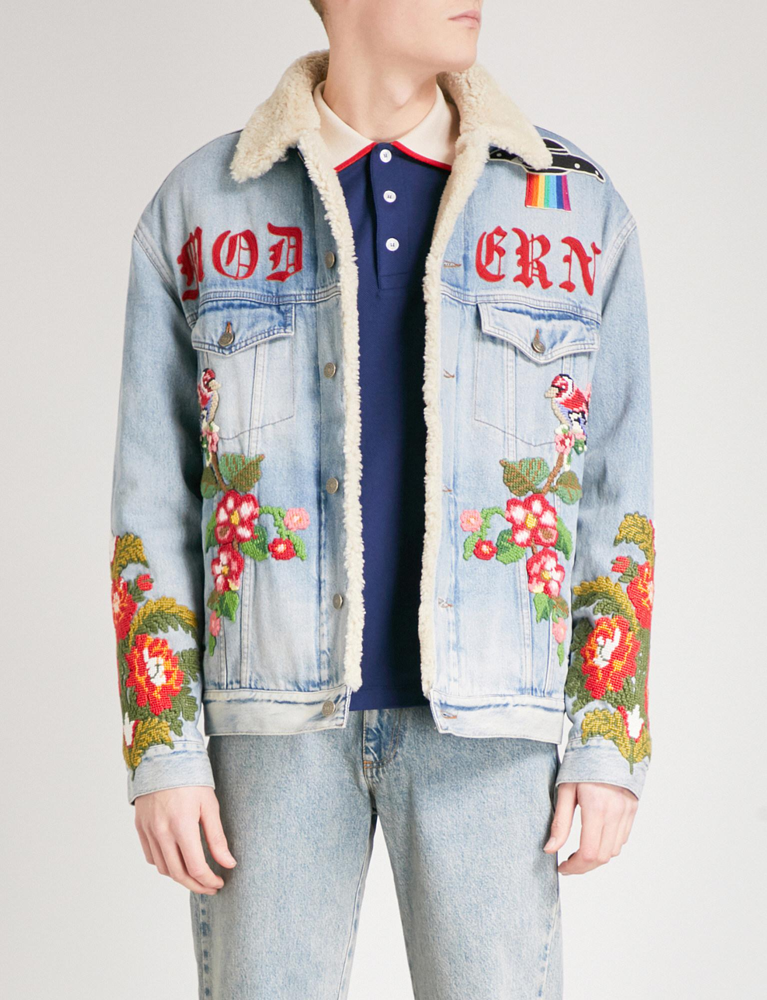 1393af0d4ad7 Lyst - Gucci Embroidered Denim Jacket in Blue for Men