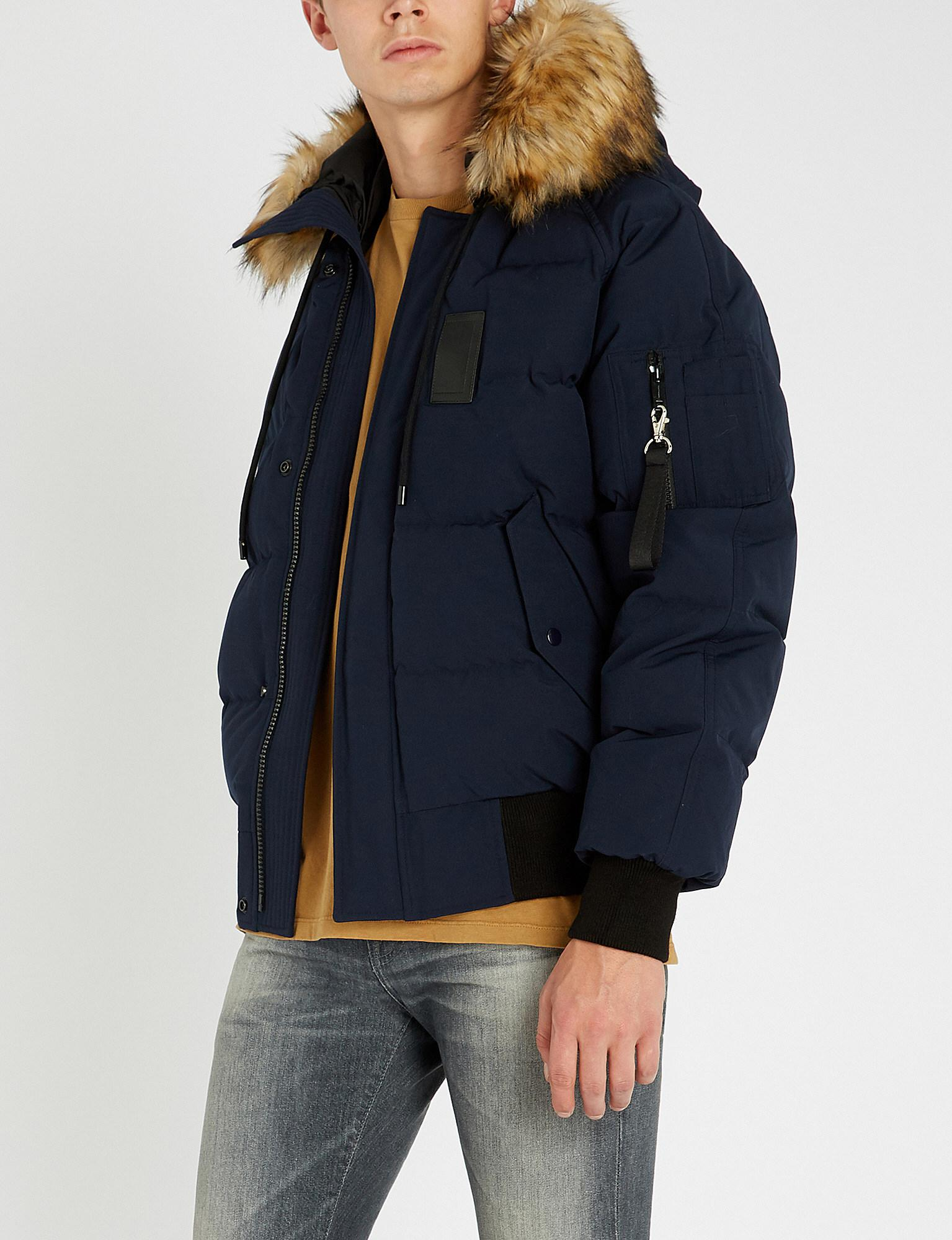 3390e5a77d The Kooples Hooded Padded Shell And Faux-fur Jacket in Blue for Men ...