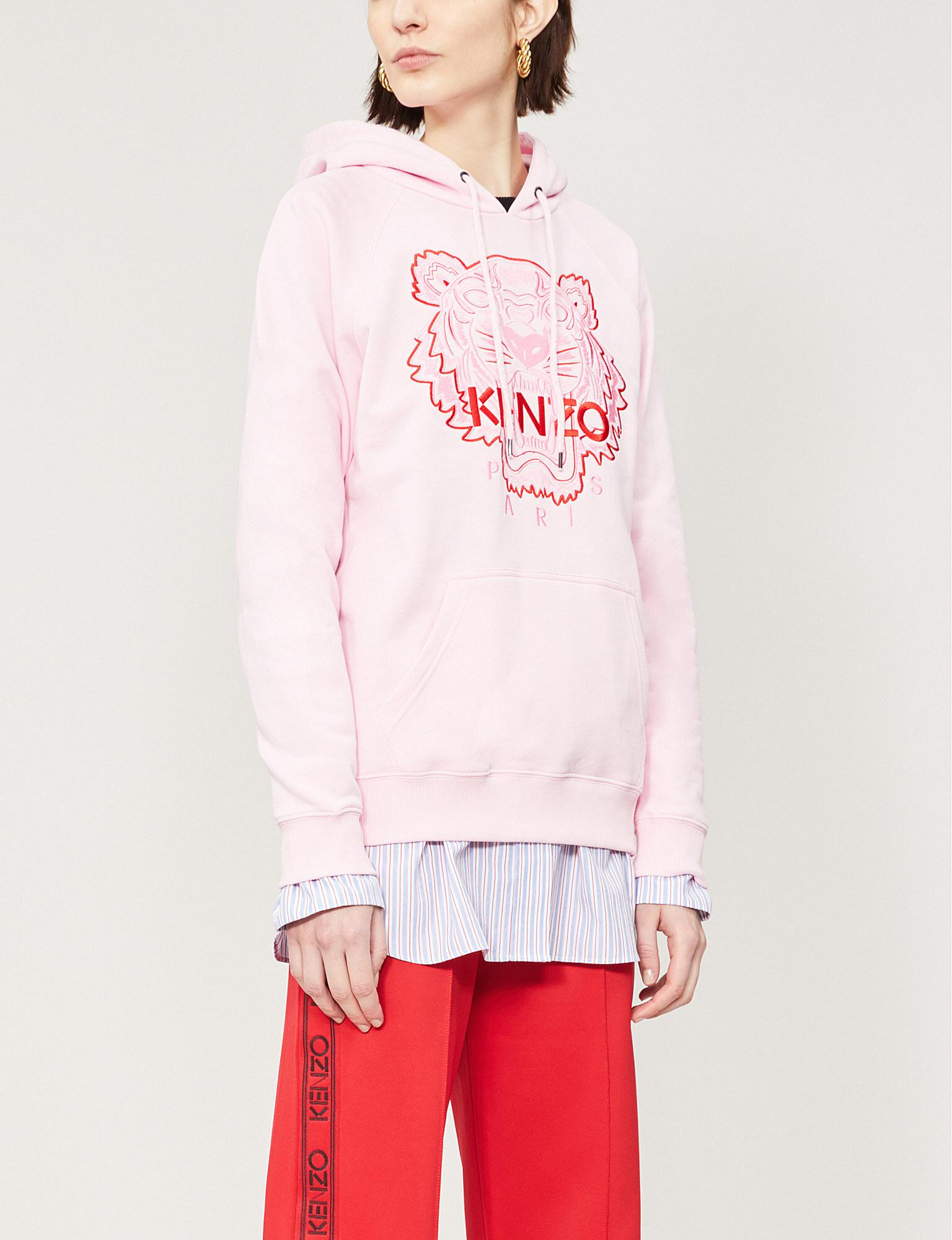 23aca58e7430 Kenzo Tiger-embroidered Cotton-jersey Hoody in Pink - Lyst