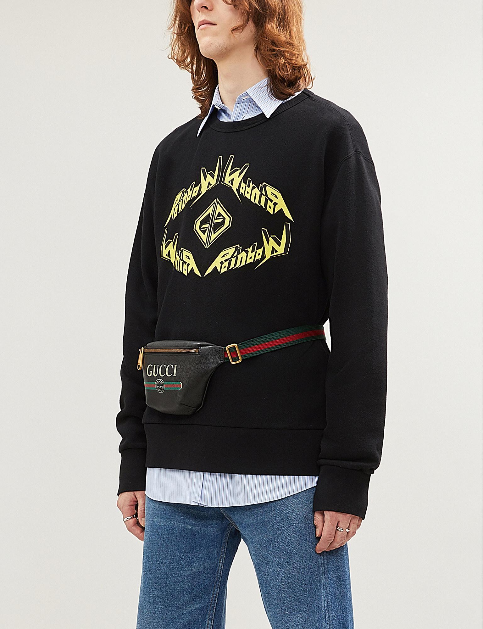02649b246de Gucci - Black Slogan-print Cotton-jersey Sweatshirt for Men - Lyst. View  fullscreen