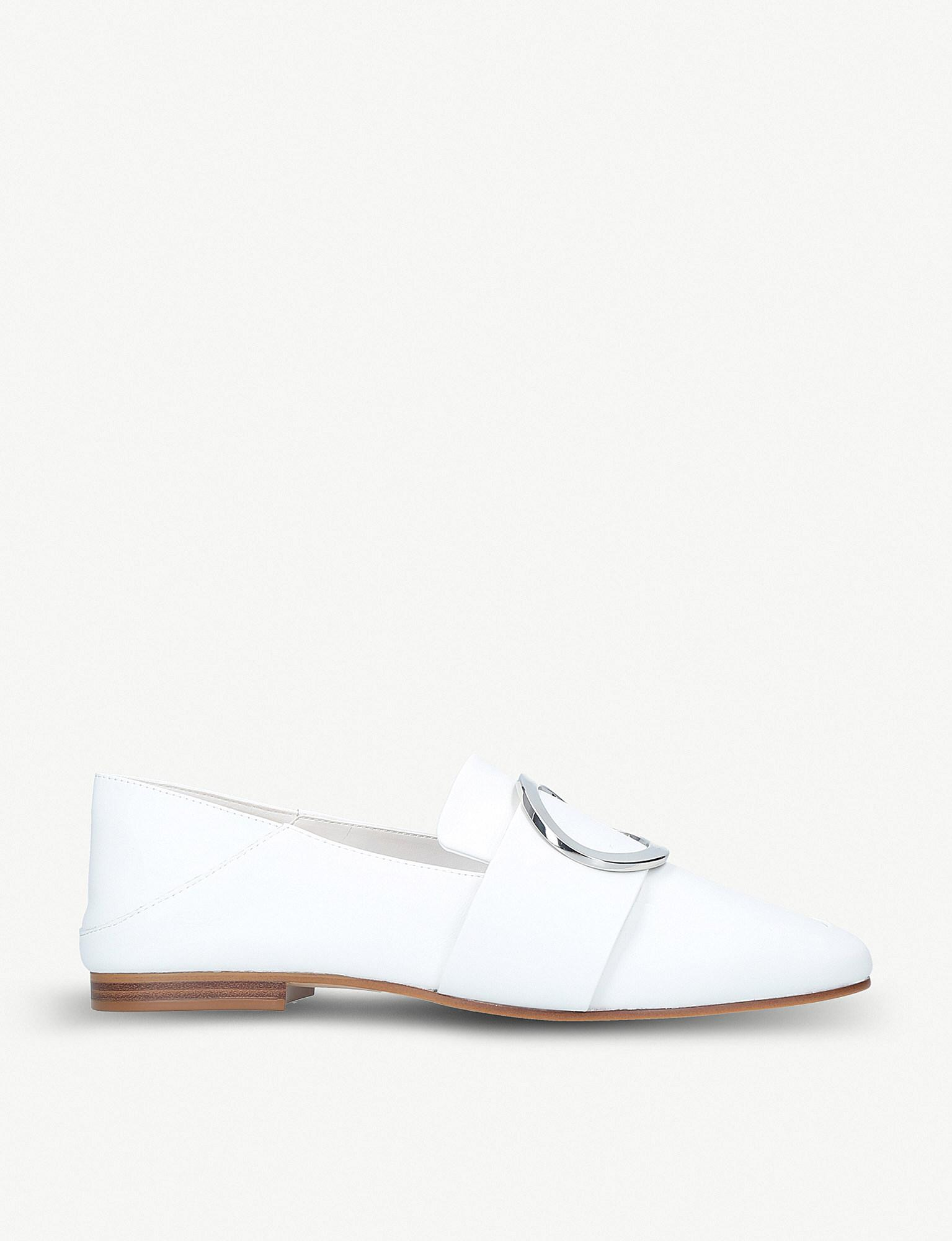 0a846bd047 ALDO Cadericia Ring-detail Leather Loafers in White - Lyst