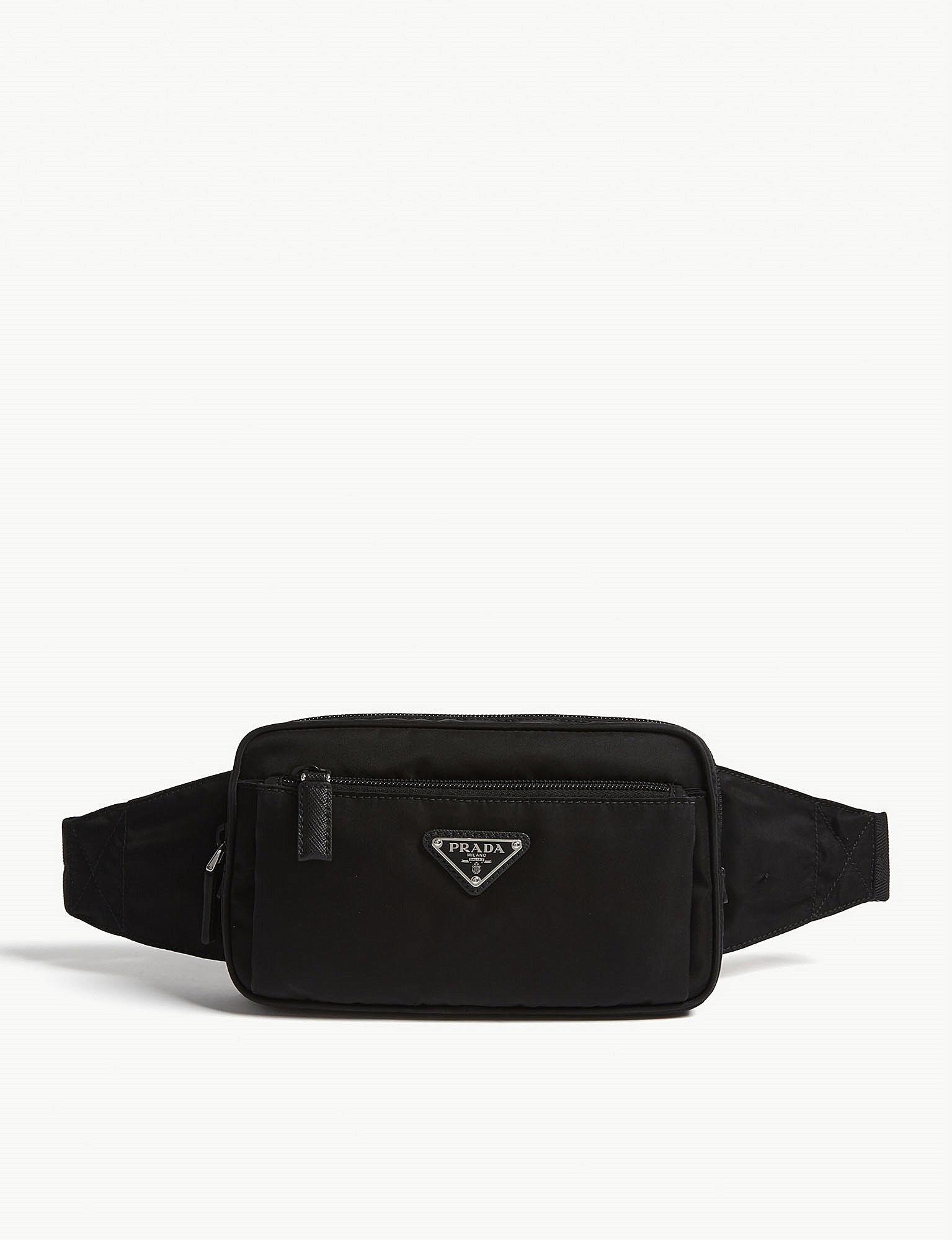 Lyst - Prada Logo Nylon Belt Bag in Black for Men ba9cbdef3b347