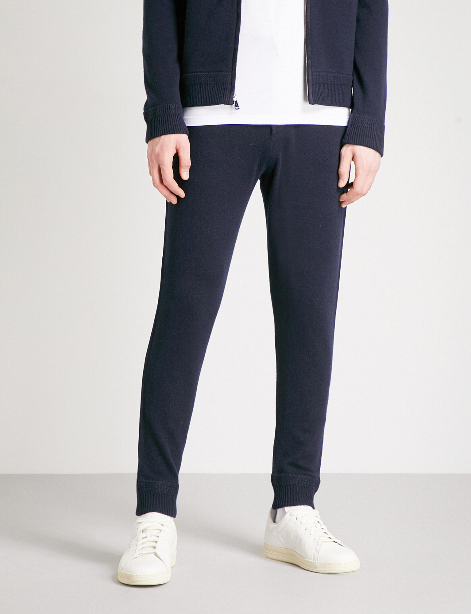 Ralph Lauren Purple Label. Men's Blue Suede Trims Wool And Cashmere-blend Jogging  Bottoms