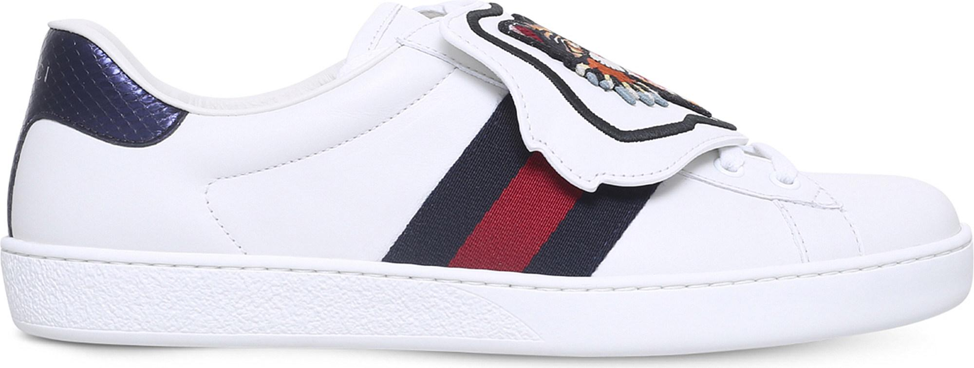 7a430cb6c Gucci New Ace Cat Patch Leather Trainers in White for Men - Lyst