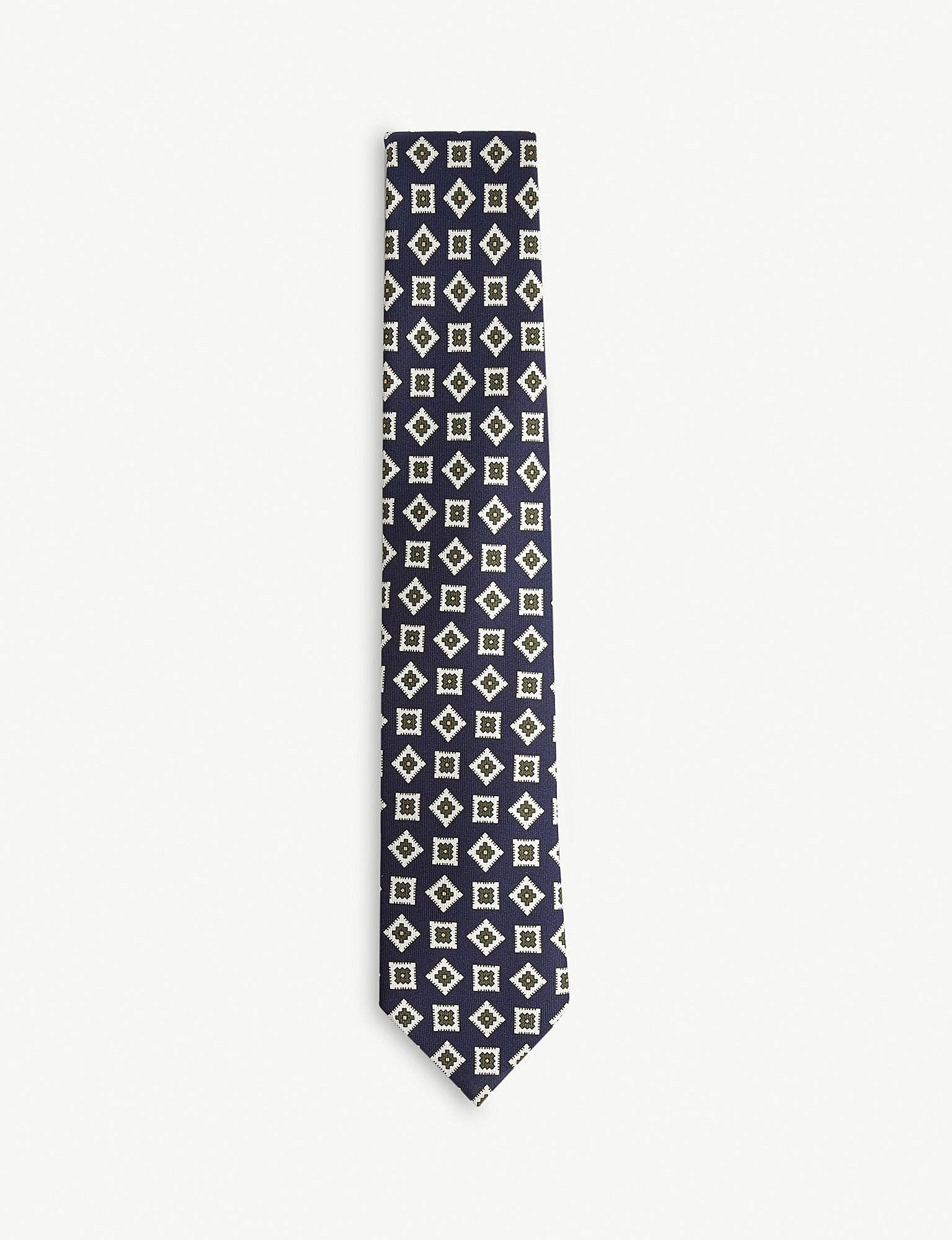 Silk tie grey patterned Drake's Free Shipping Choice Discount Perfect Clearance Outlet Outlet Order Online Pictures Ym7myROH