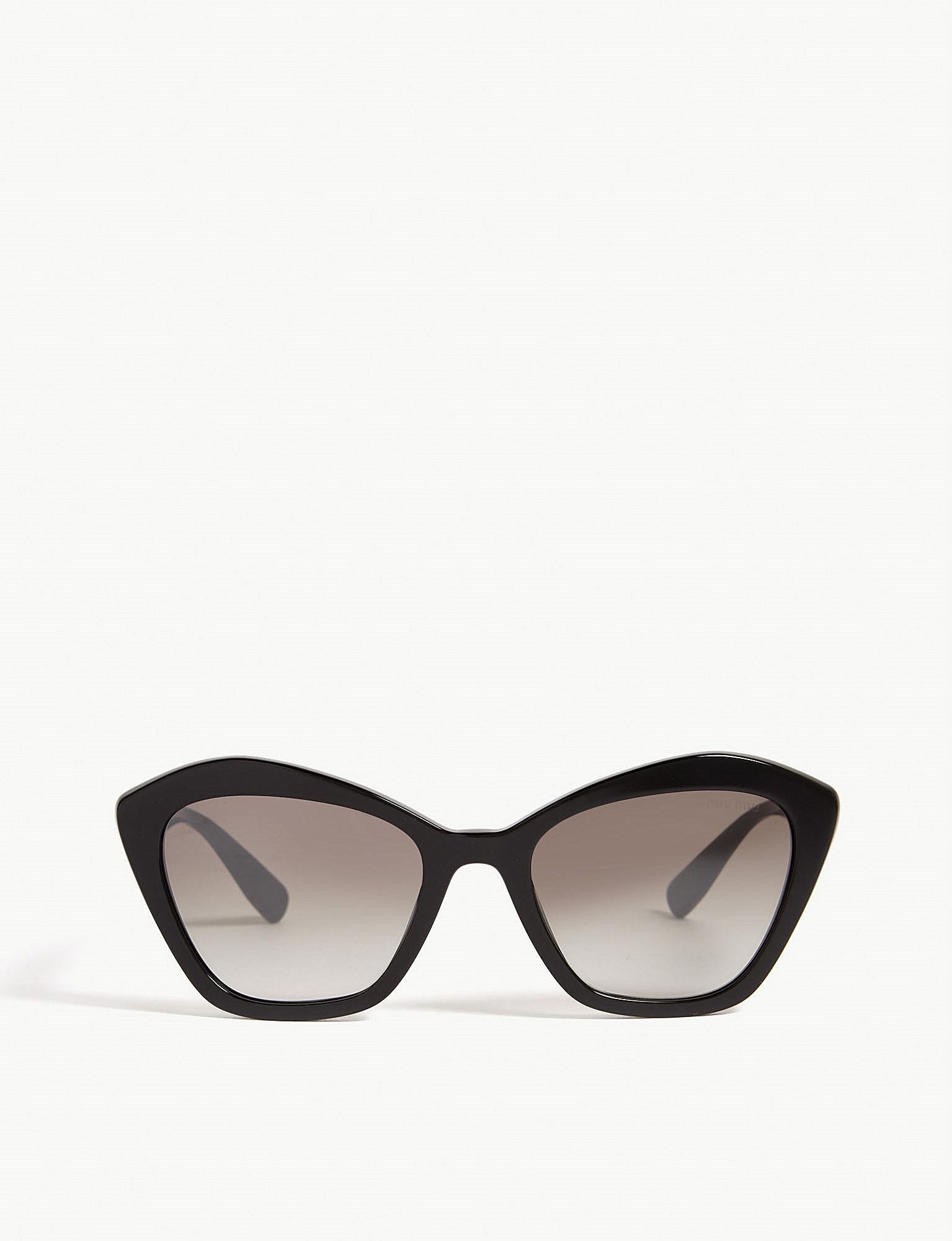112043ccbcf4 Lyst - Miu Miu Mu05u Cat-eye-frame Sunglasses in Black