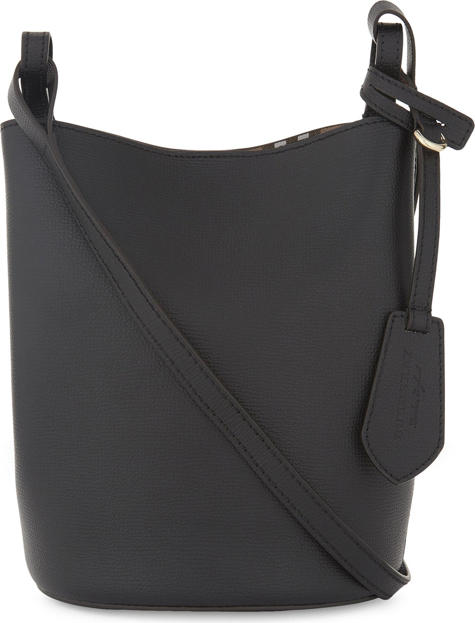 ea3a4ba75e1f Lyst - Burberry Lorne Leather Bucket Bag in Black