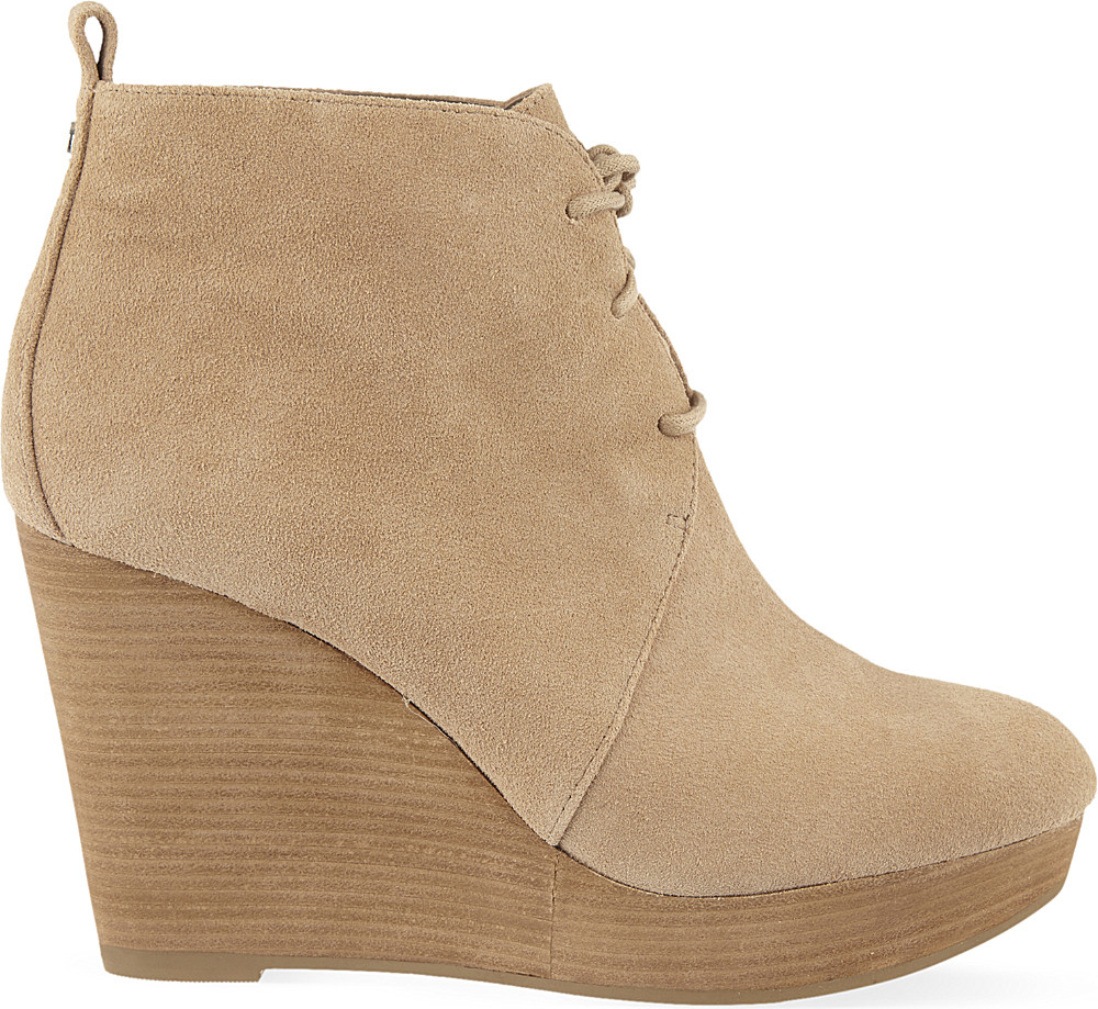 michael michael kors suede wedge ankle boots in