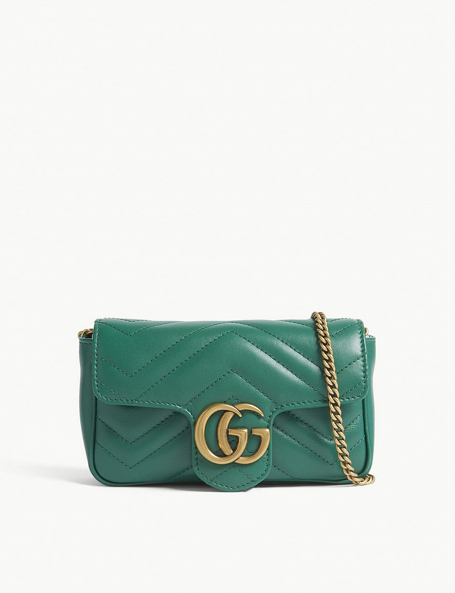 0f3195723ea5 Gucci Marmont Super Mini Leather Shoulder Bag in Green - Lyst