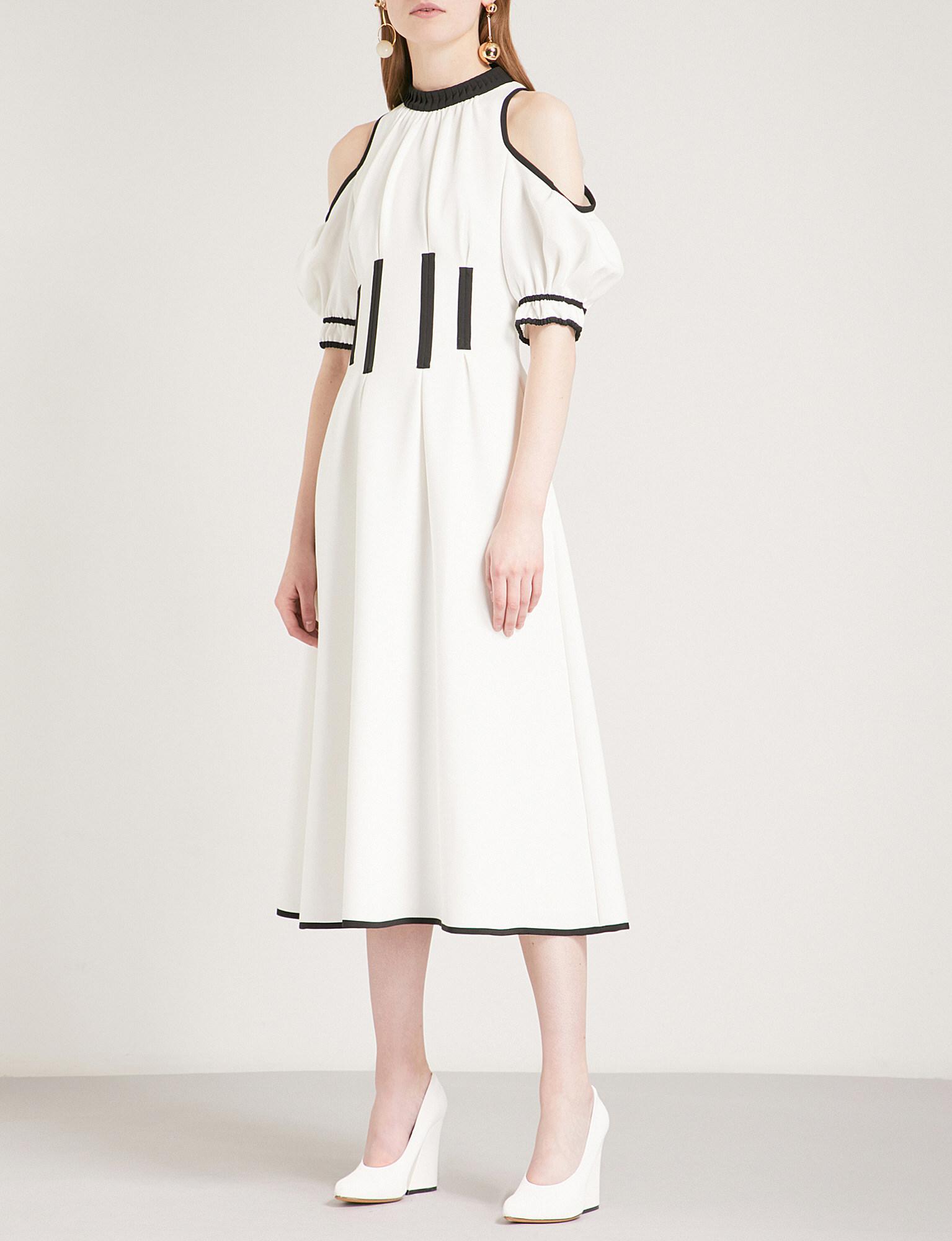 c4496ed8283a Self-Portrait Monochrome Calista Cold Shoulder Crepe Midi Dress in ...