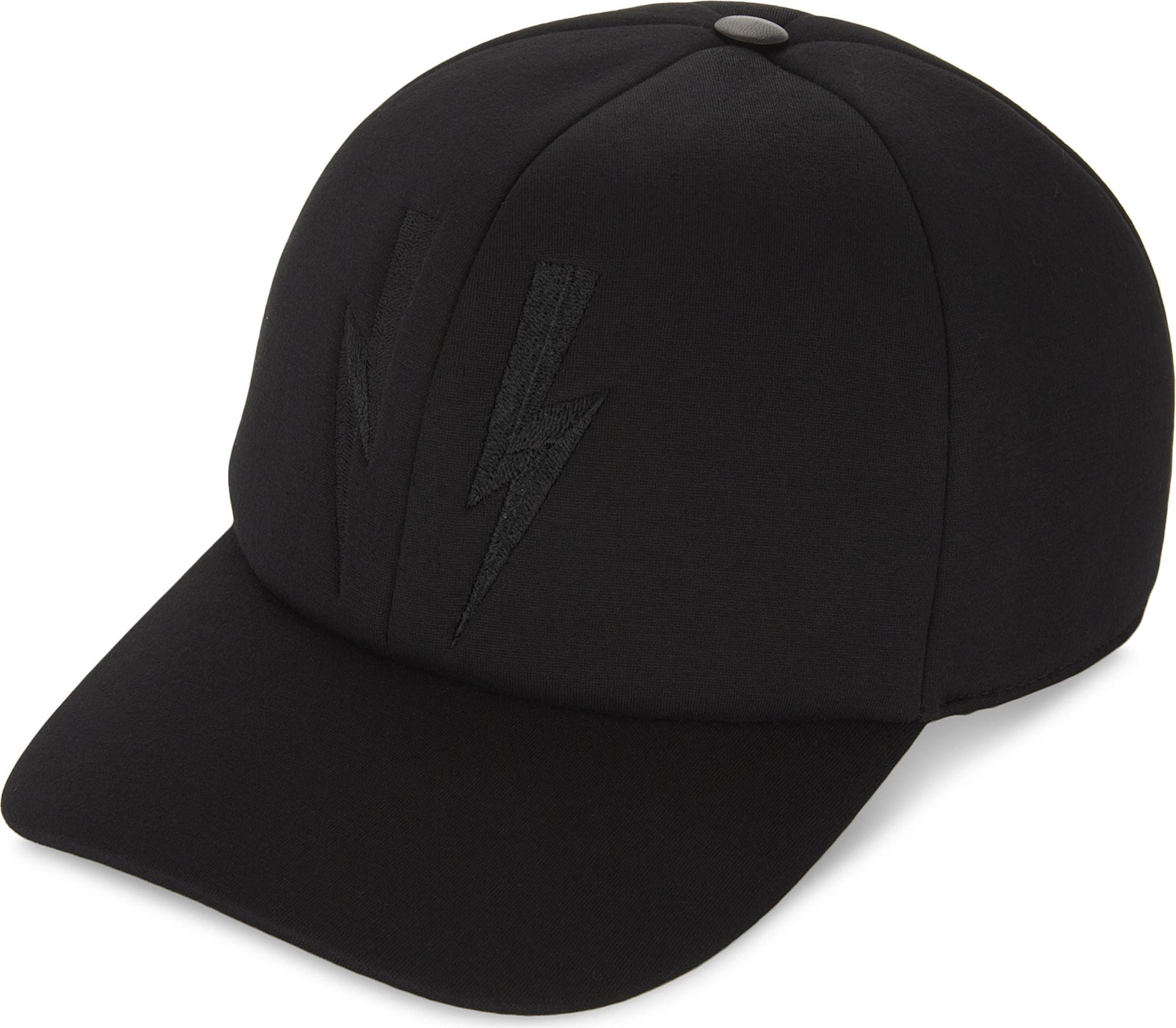 Lyst - Neil Barrett Lightning Bolt Embroidered Cap in Black for Men d3a216e4498e