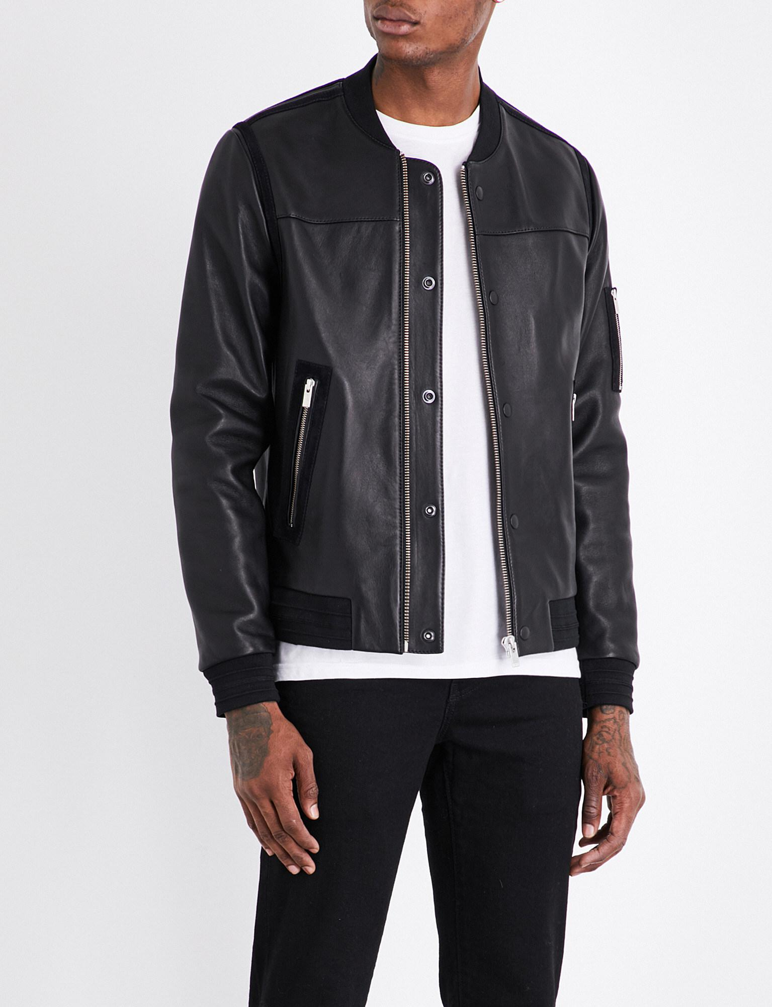 2cfdd9a2da The Kooples Sport Teddy-collar Leather Bomber Jacket in Black for ...