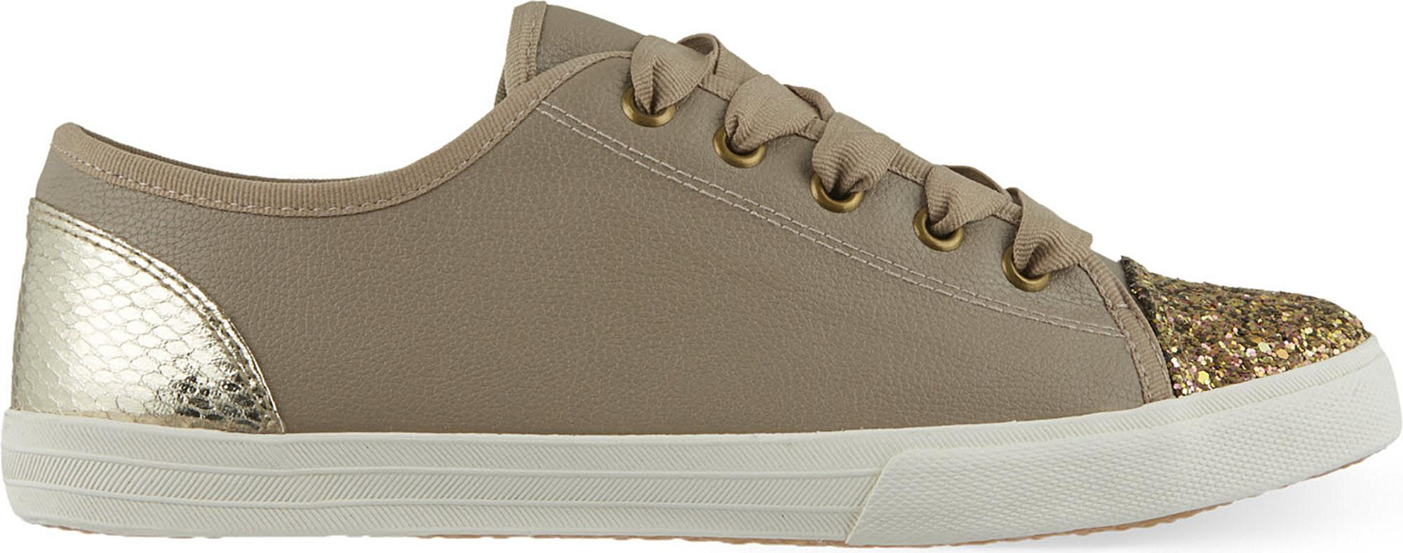 KG by Kurt Geiger Synthetic Lucca Glitter Trainers in Nude