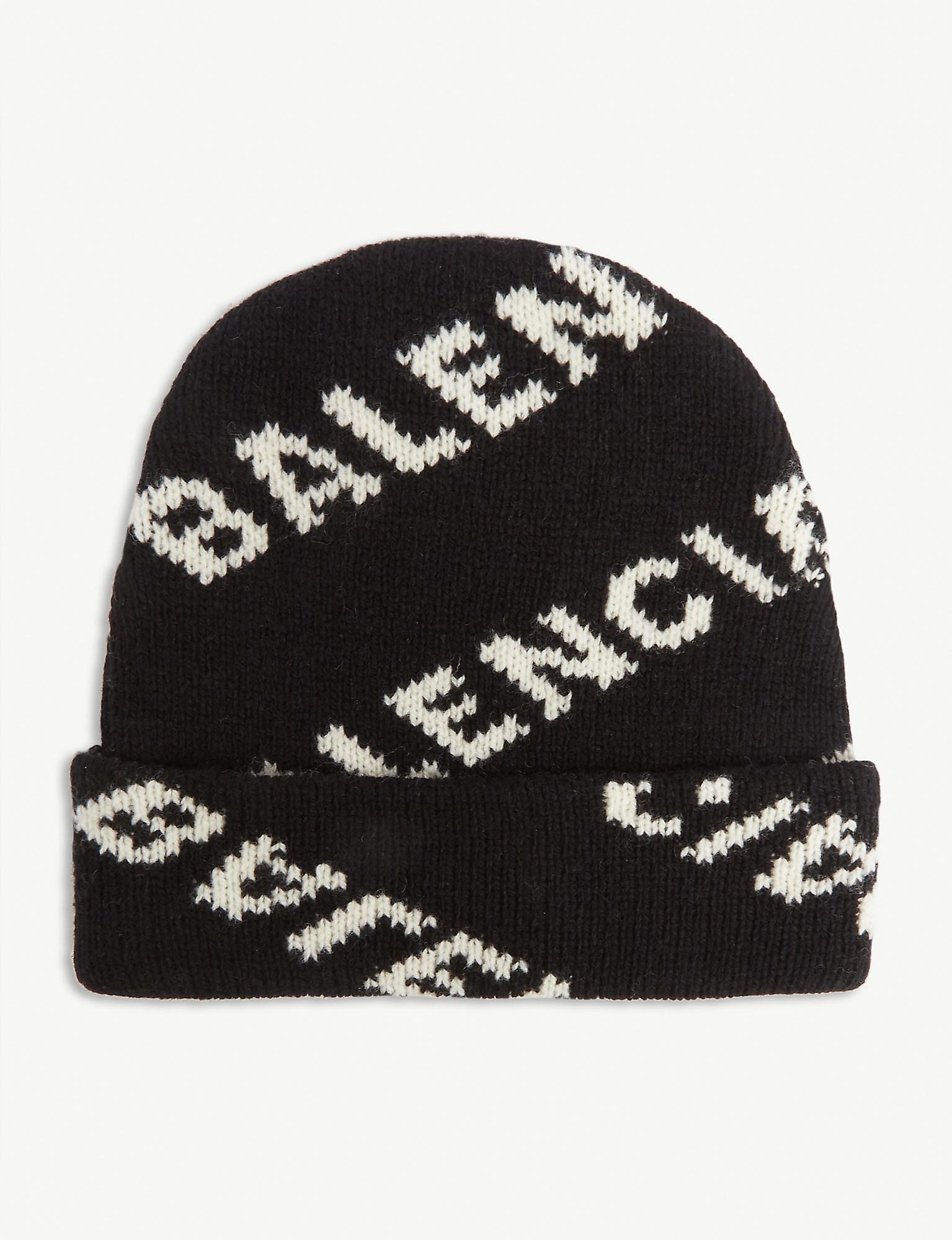 c75827b88 Women's Black Logo Intarsia Wool-blend Beanie