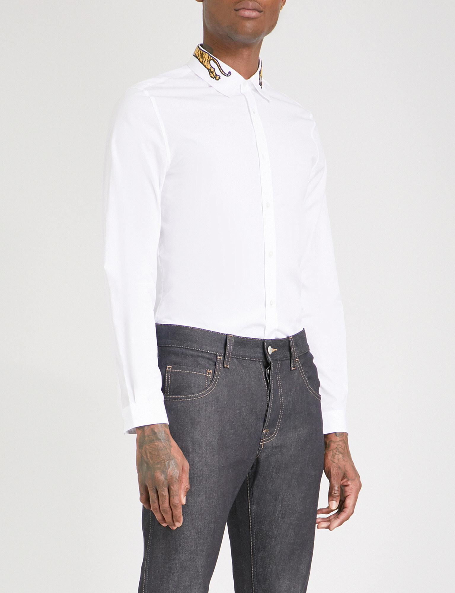 acbd7c95 Lyst - Gucci Duke Tiger-embroidered Regular-fit Cotton-poplin Shirt ...