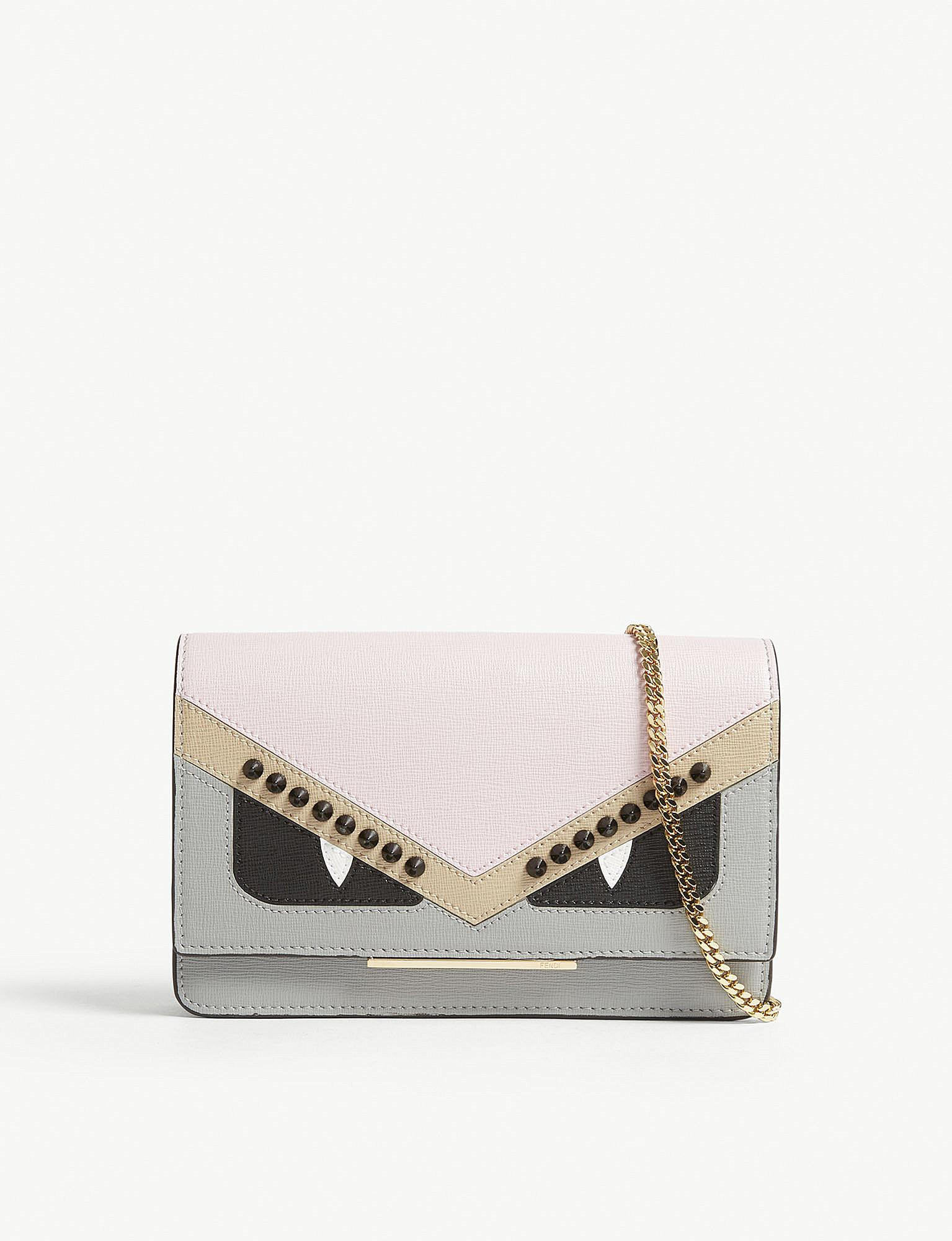 93765d28ee Lyst - Fendi Monster Leather Cross-body Bag in Pink