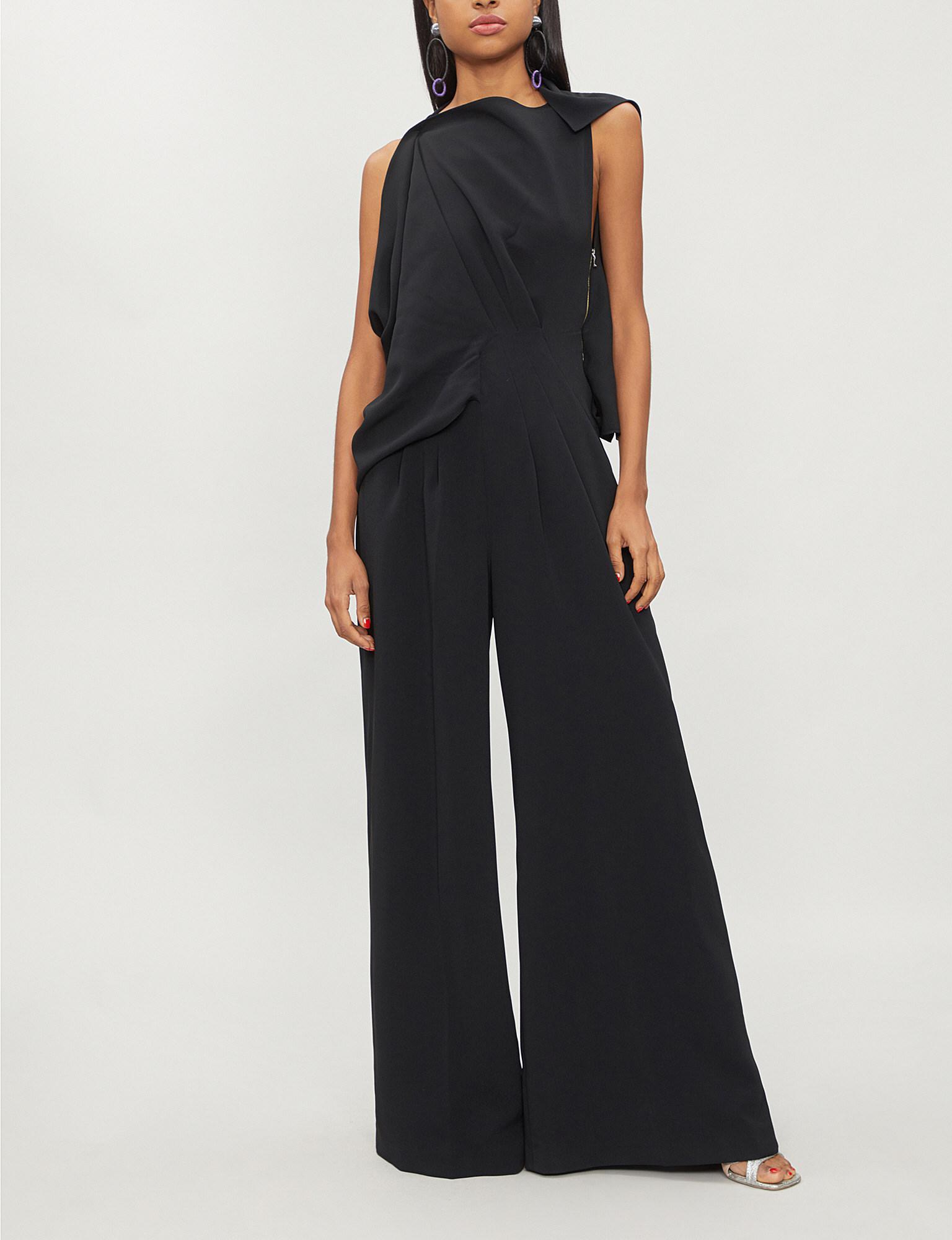 f349aa9eb3d Roland Mouret Ebsen Draped Neck Silk-blend Jumpsuit in Black - Save ...