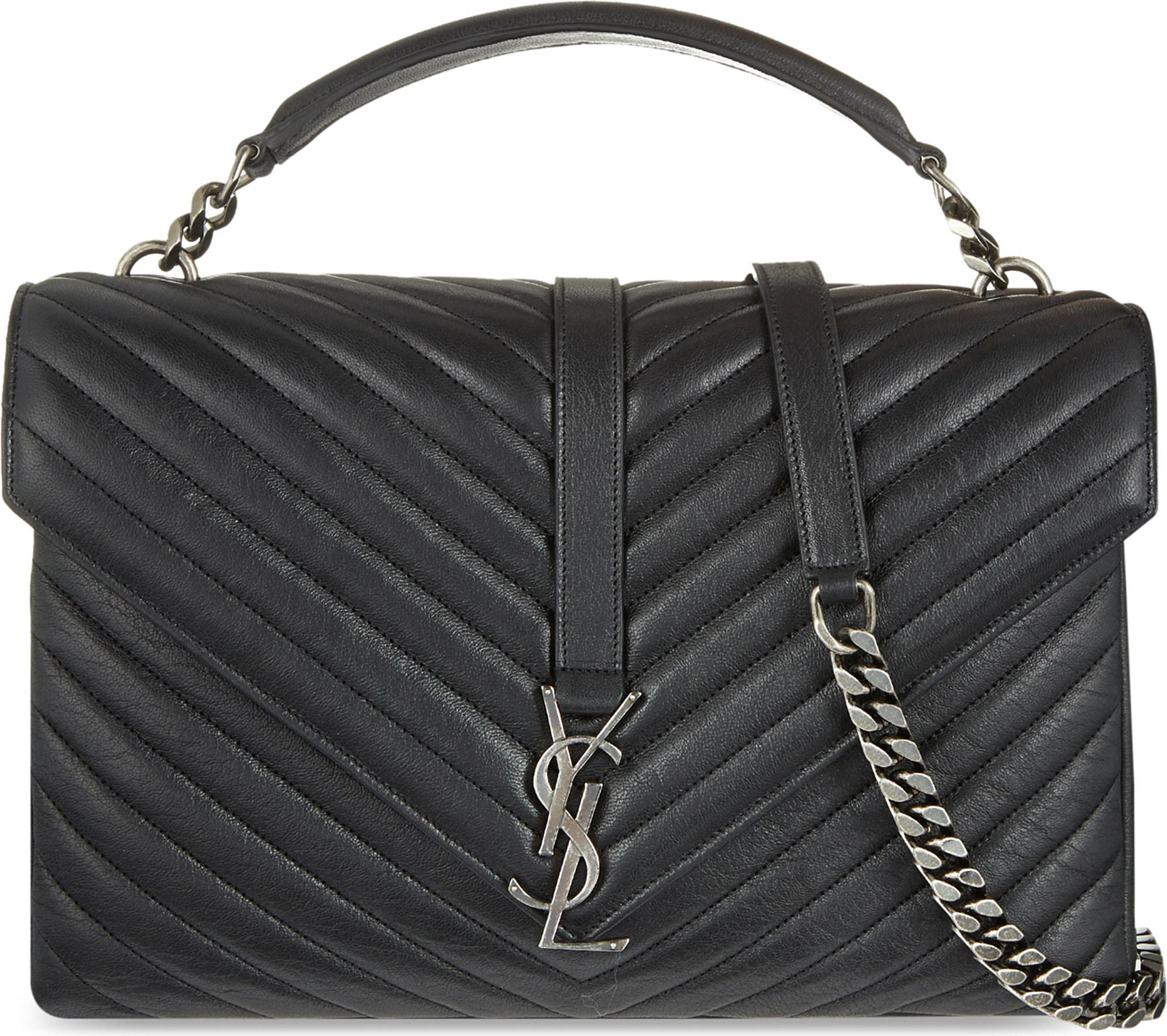c4821ad8973 Saint Laurent. Women's Black Monogram College Quilted Leather Shoulder Bag