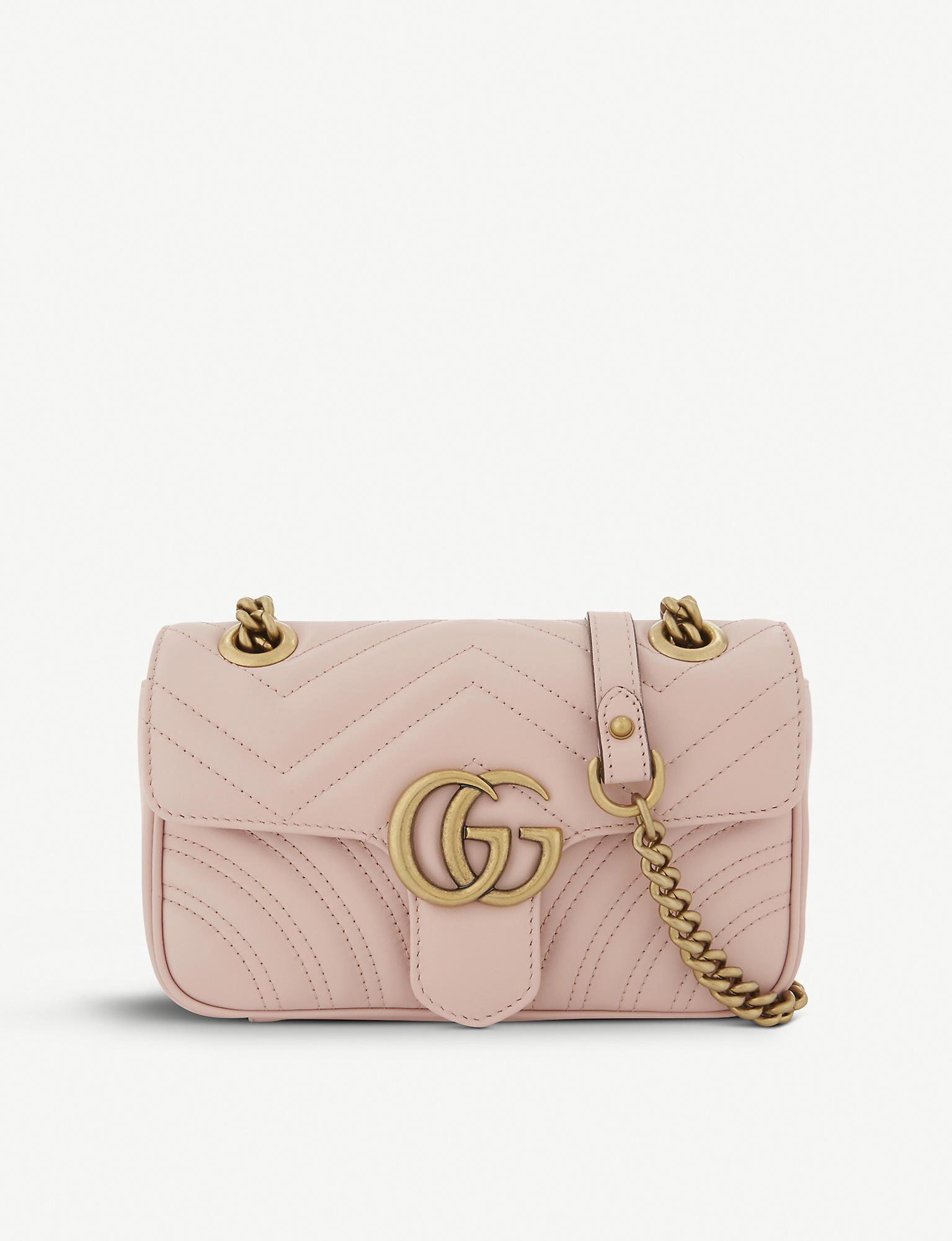 e86868d8f5f4 Gucci Women's Pink Zigzag Marmont GG Mini Leather Cross-body Bag in ...