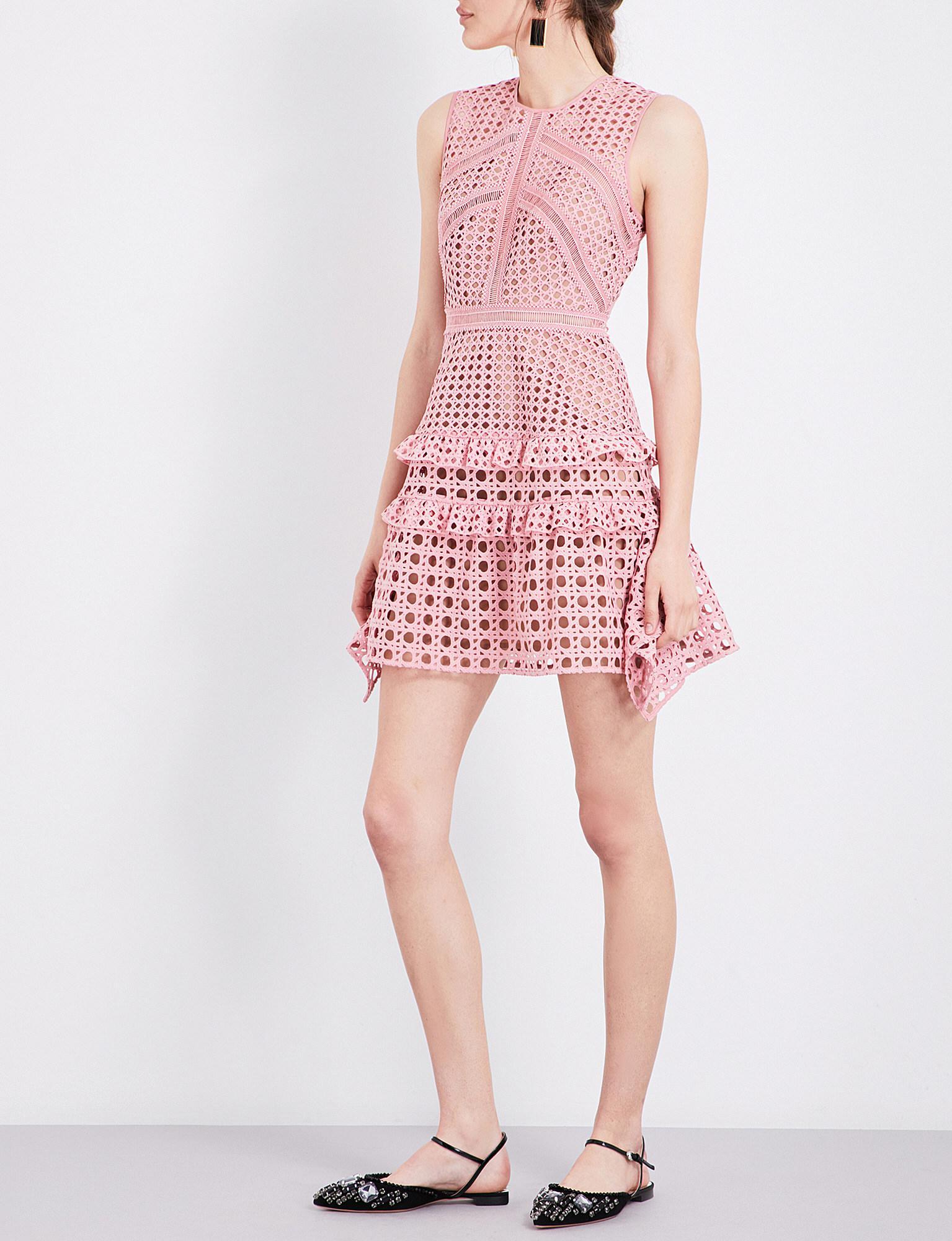 24164af84 Lyst - Self-Portrait Frilled Lace Mini Dress in Pink