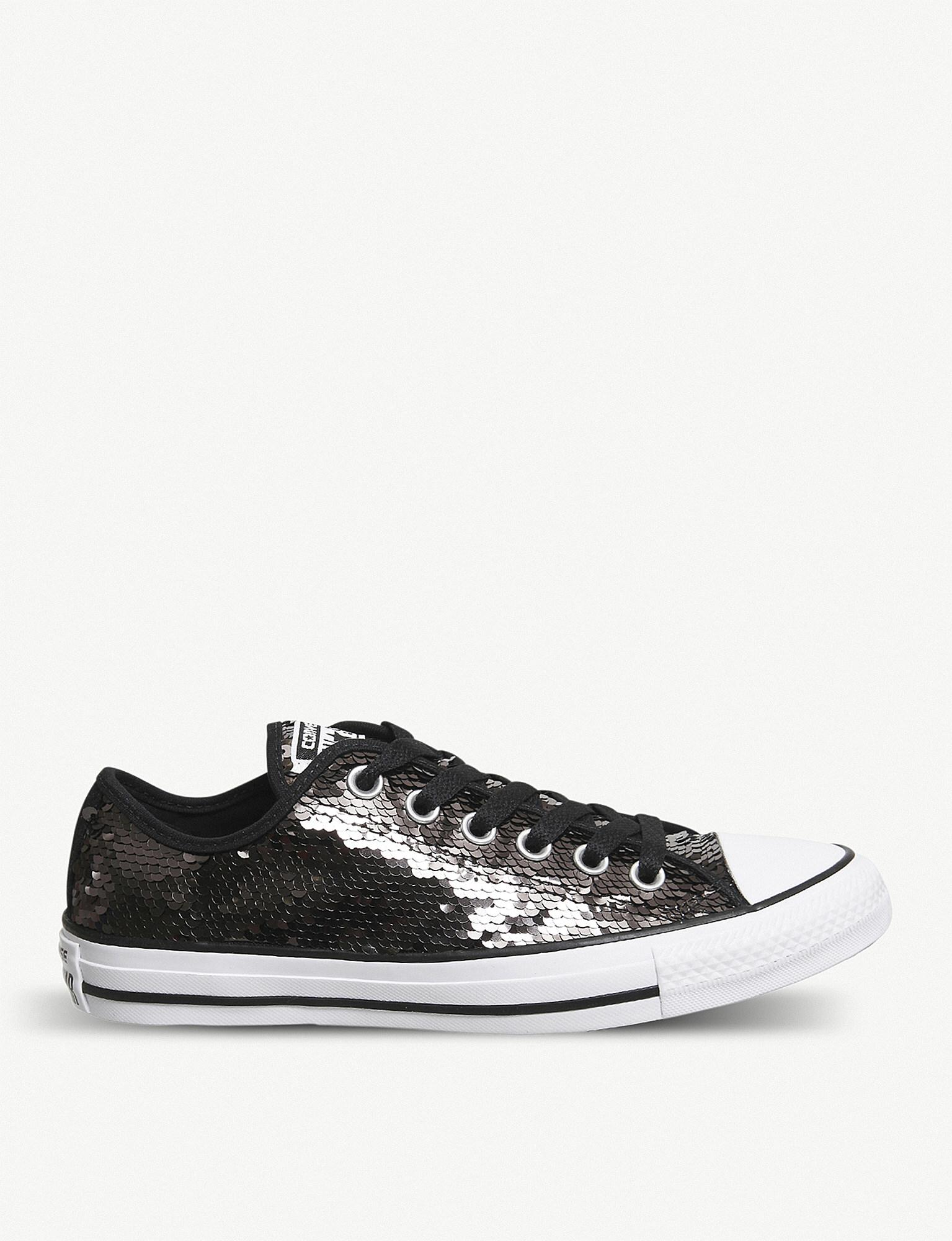c1953de1b082a2 Lyst - Converse All Star Low-top Sequin Trainers in Black