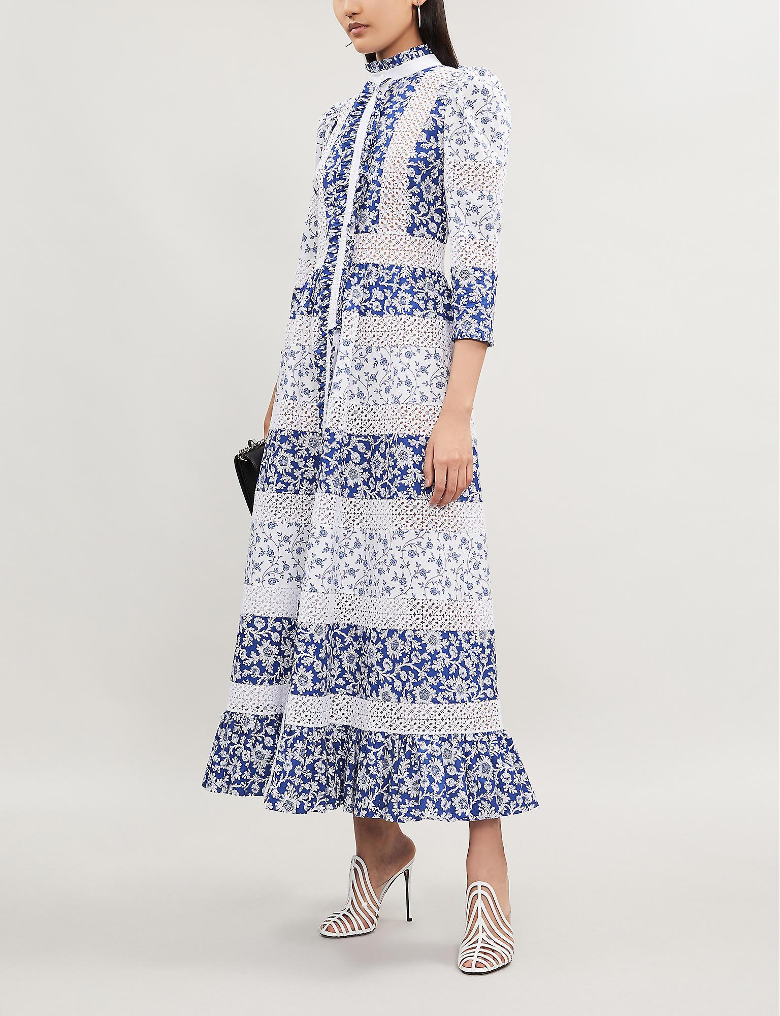 Women's Blue Printed Shirt Dress