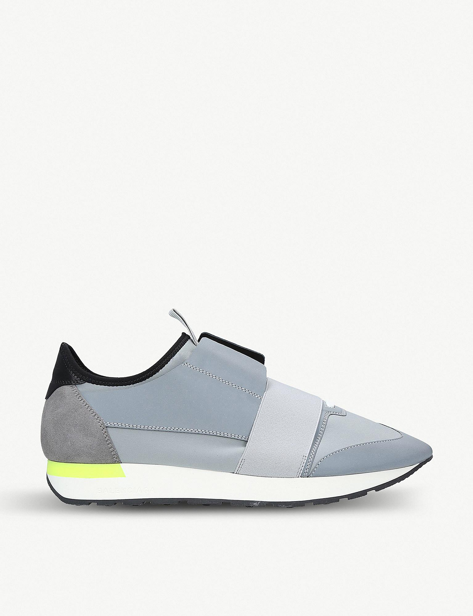4fe1699b23069 Balenciaga Mens Grey Striped Capsule Race Runners Suede Sneakers in ...