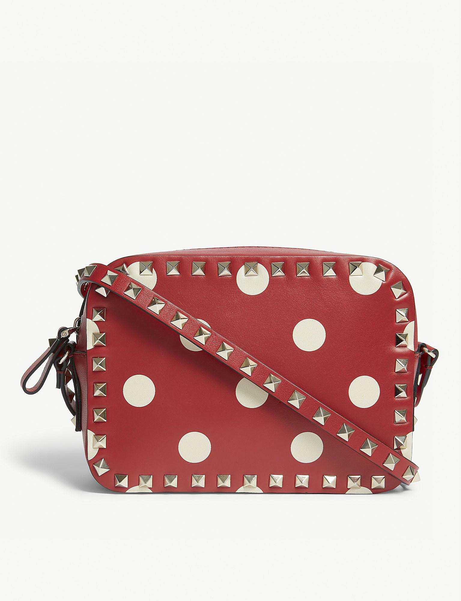 Rockstud camera polka-dot leather cross-body bag Valentino TEZjzpf7