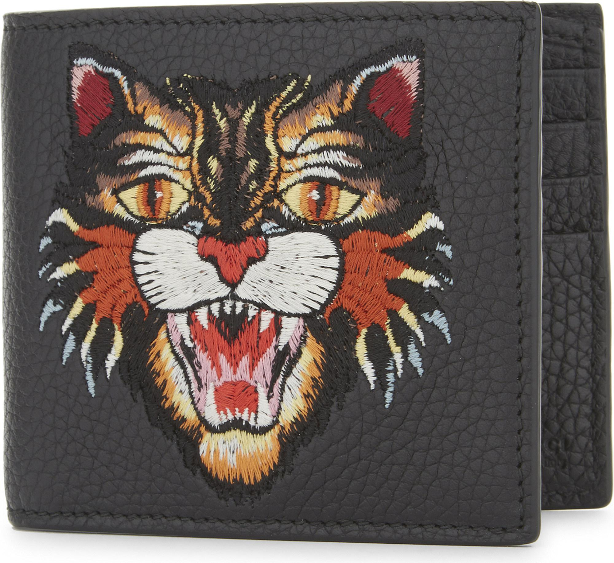 dfdb73421136 Gucci Rev D'orient Tiger Embroidered Leather Billfold Wallet in ...