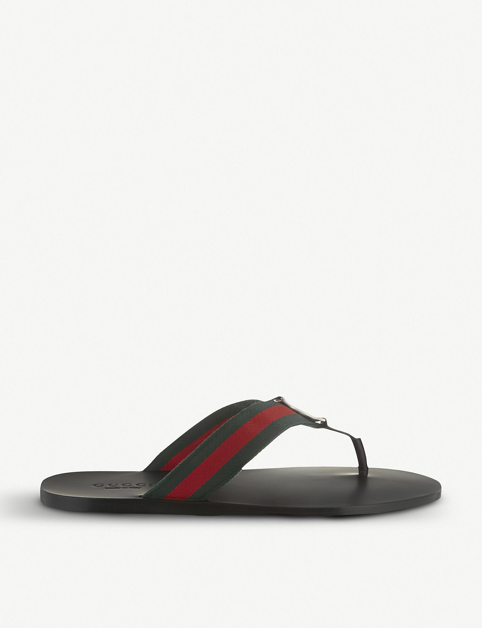c743762eab6d Lyst - Gucci Web Flip-flops in Black for Men