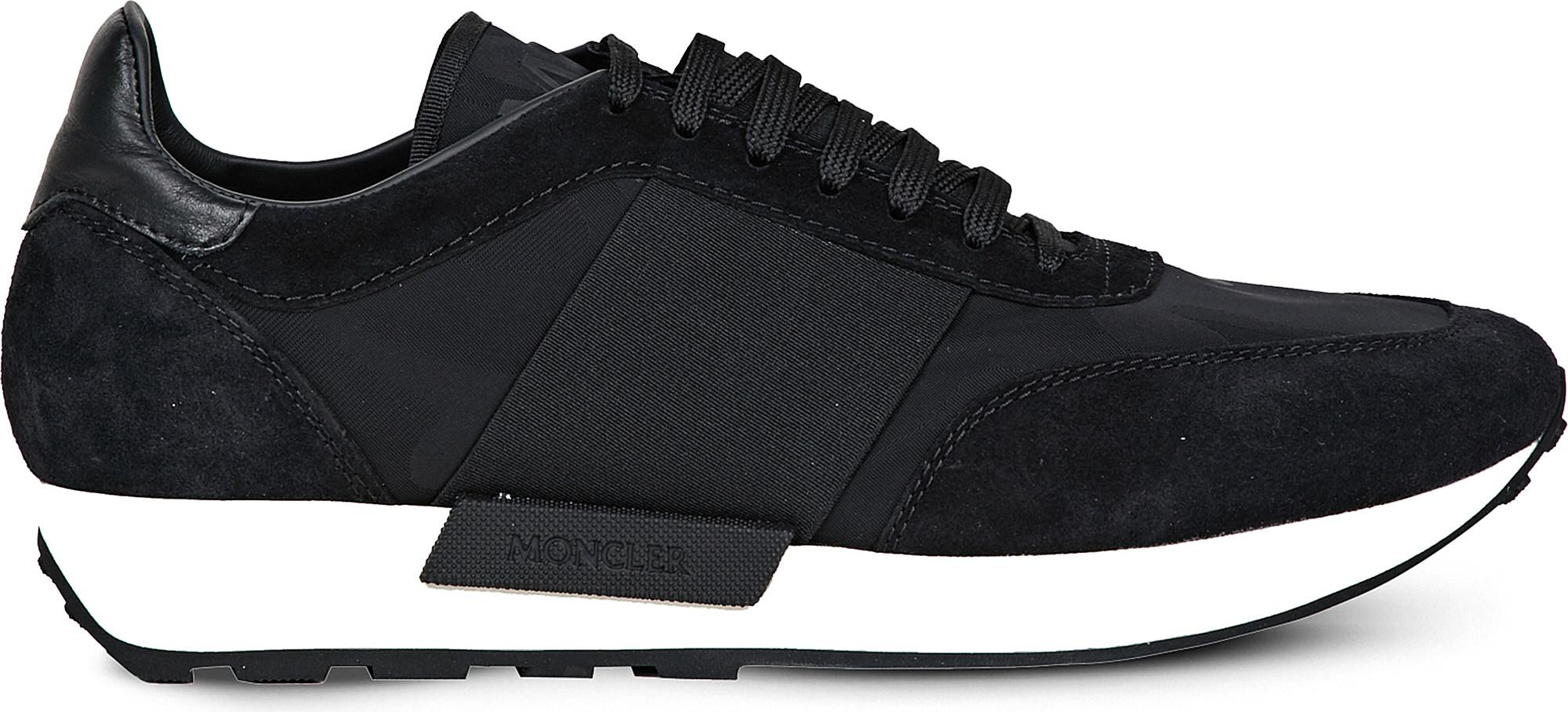 Moncler. Men's Black Horace Suede And Textile Trainers