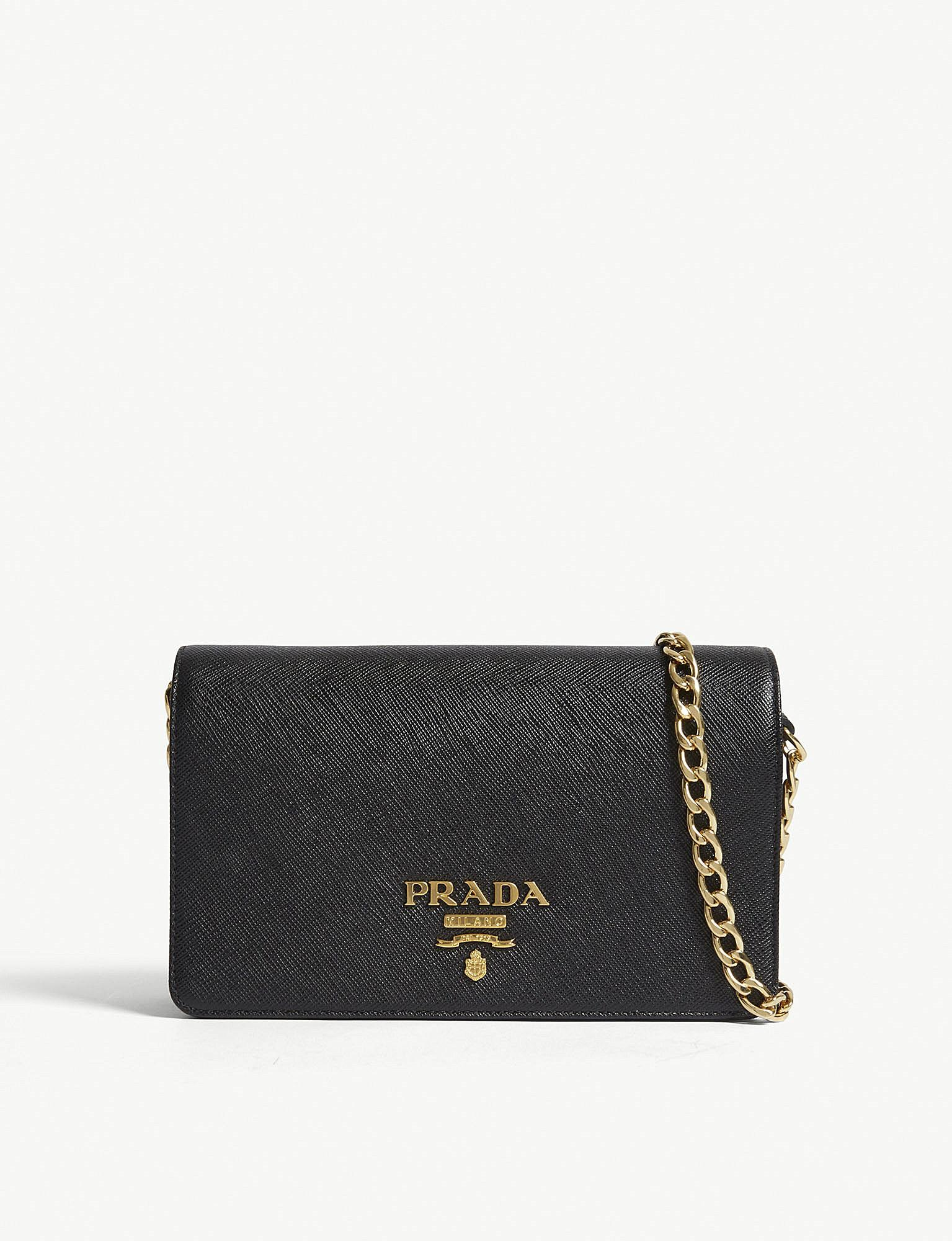 Prada - Womens Black Core Saffiano Leather Wallet-on-chain Wallet - Lyst.  View fullscreen e5b986f5b5a0e