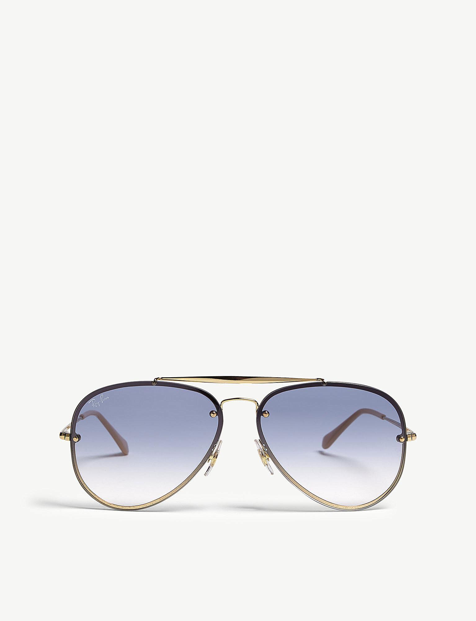 ray ban blade aviator sunglasses in metallic lyst Ray-Ban Aviator RB3044 ray ban women s metallic blade aviator sunglasses