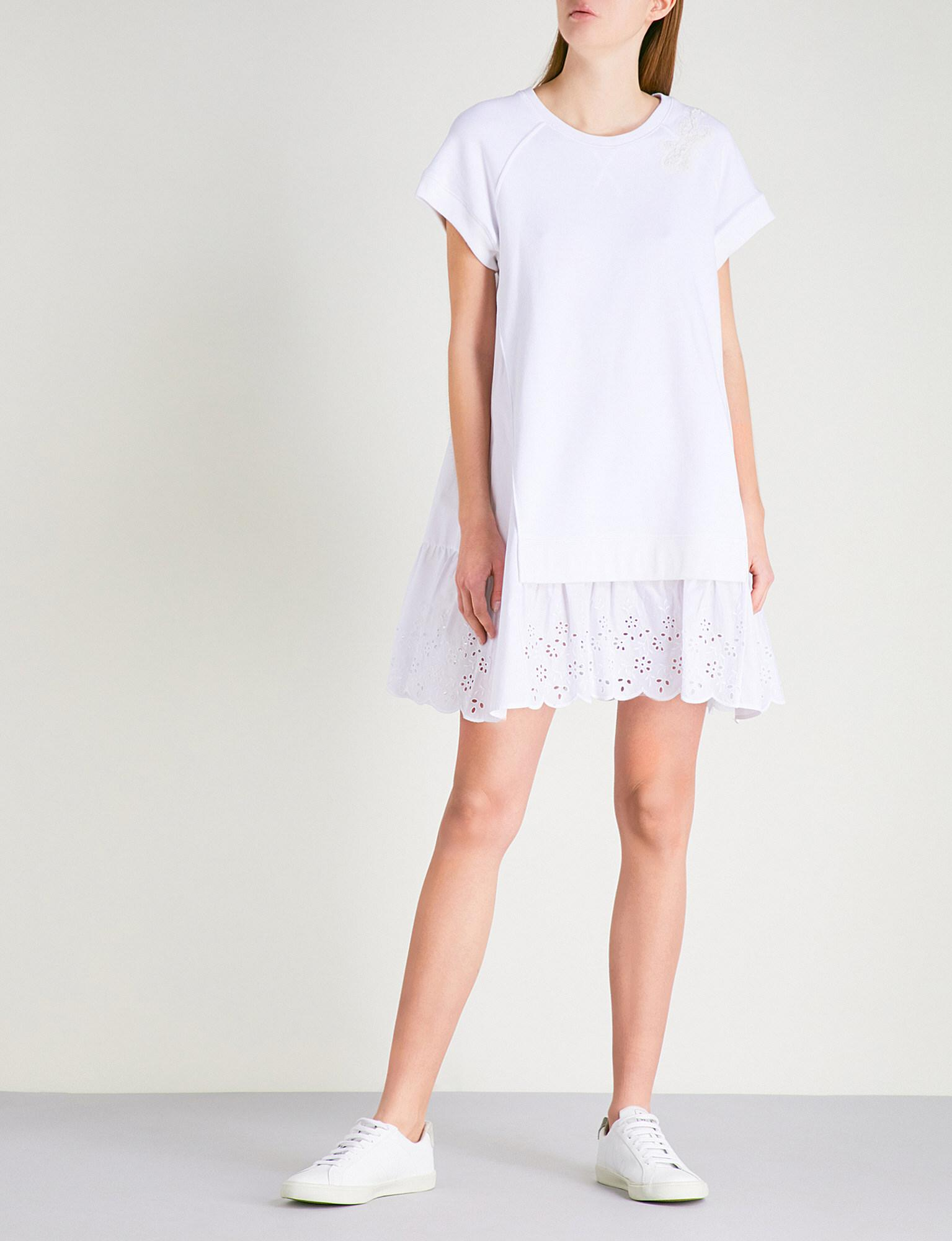 6f26a5d226c8 RED Valentino Broderie Anglaise-panel Stretch-jersey Dress in White ...