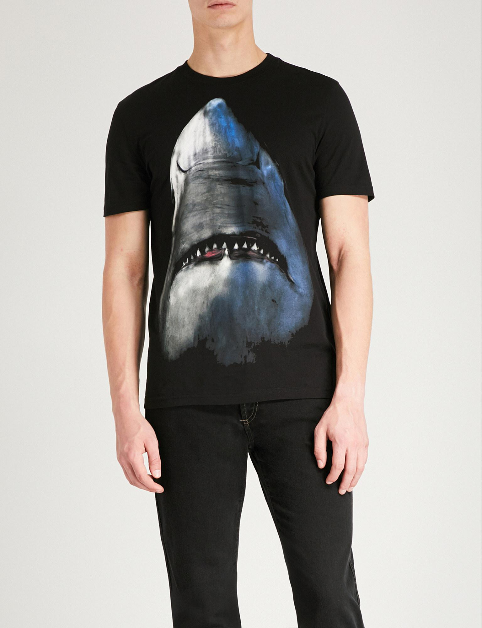 ddc996ed5 Givenchy Shark-print Cotton-jersey T-shirt in Black for Men - Save ...