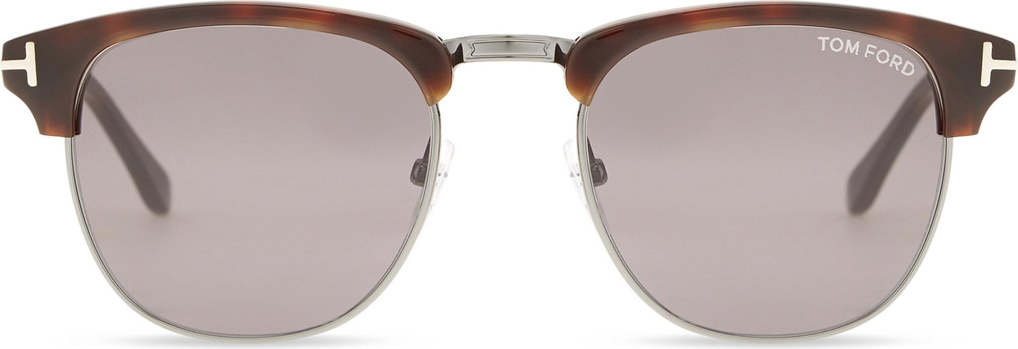 254d70c5c23 Tom Ford Tf0248 Henry Square Half-frame Sunglasses in White for Men ...