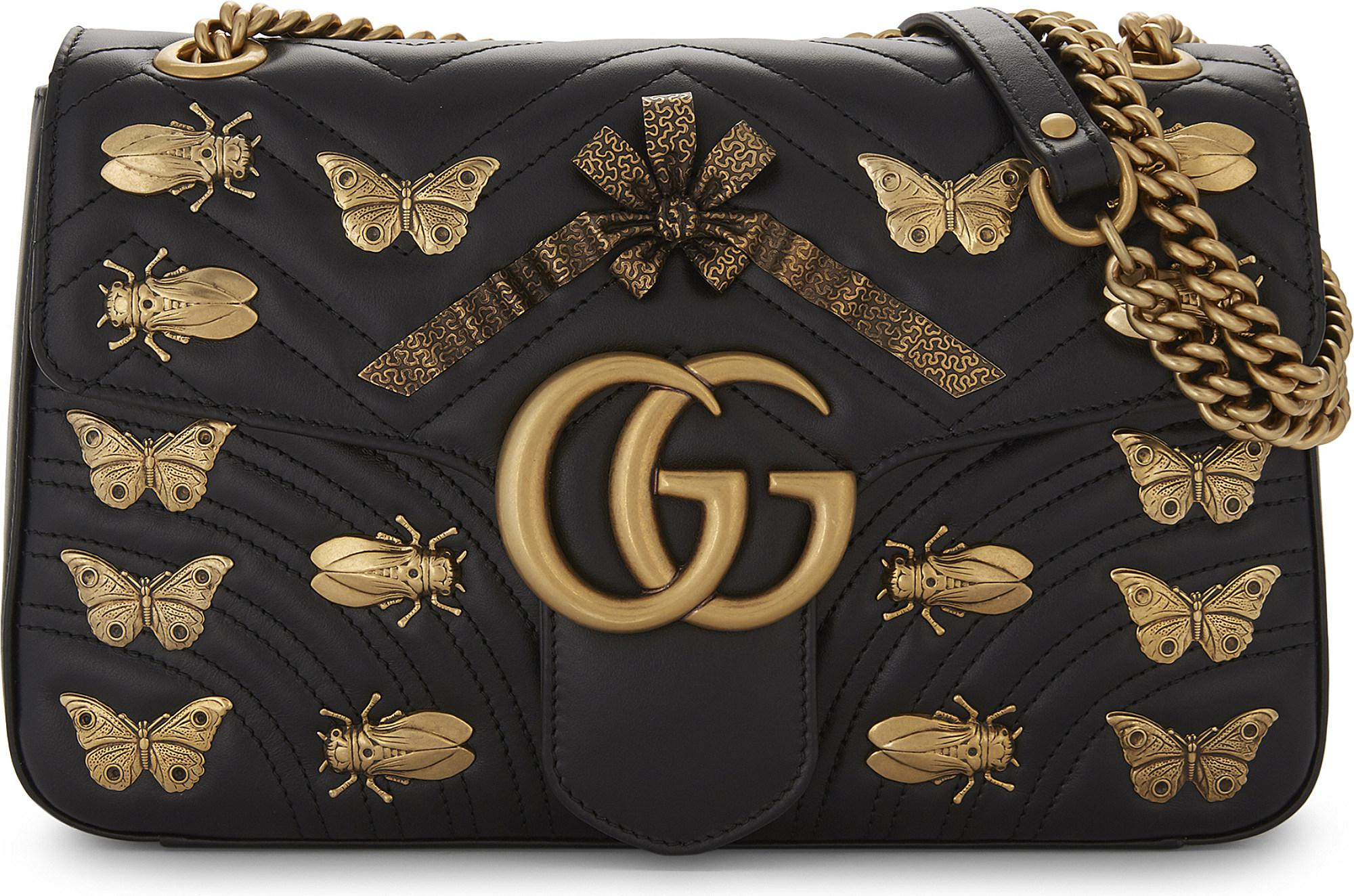a14995dcea6 Lyst - Gucci Gg Marmont Animal Stud Cross-body Bag in Black